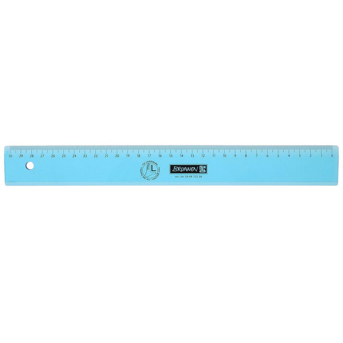 Линейка для левши Brunnen, цвет: голубой, 30 см730396Линейка Brunnen, длиной 30 см, выполнена из прозрачного пластика голубого цвета. Линейка предназначена специально для левшей. Шкала на линейке расположена справа налево. Линейка Brunnen - это незаменимый атрибут, необходимый школьнику или студенту, упрощающий измерение и обеспечивающий ровность проводимых линий.
