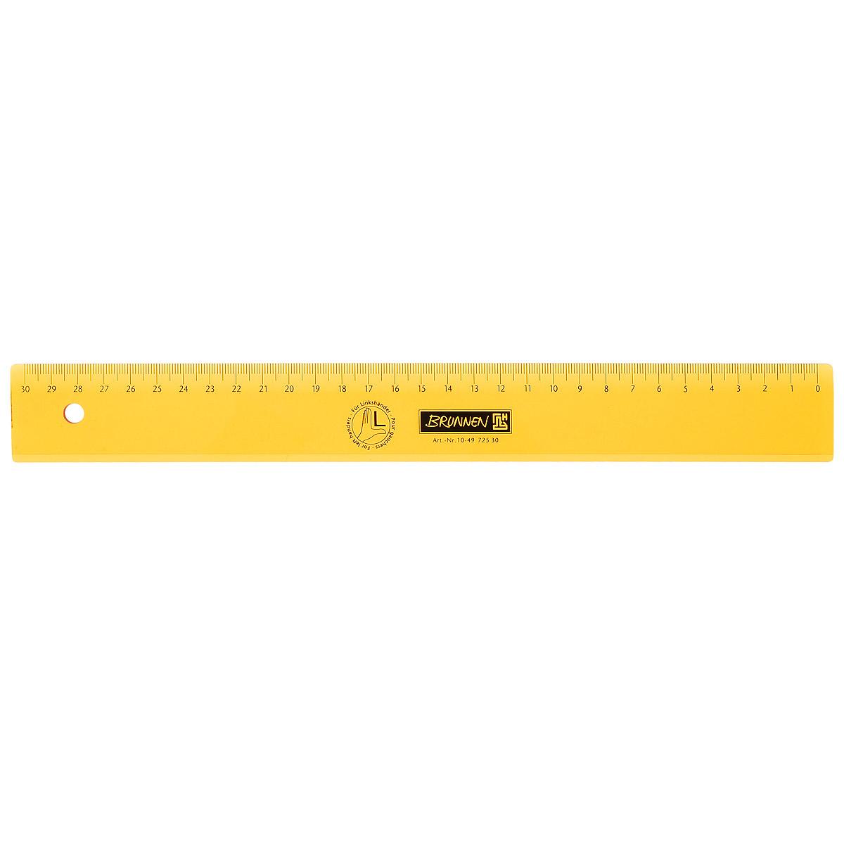Линейка для левши Brunnen, цвет: желтый, 30 см55050Линейка Brunnen, длиной 30 см, выполнена из прозрачного пластика желтого цвета. Линейка предназначена специально для левшей. Шкала на линейке расположена справа налево. Линейка Brunnen - это незаменимый атрибут, необходимый школьнику или студенту, упрощающий измерение и обеспечивающий ровность проводимых линий.