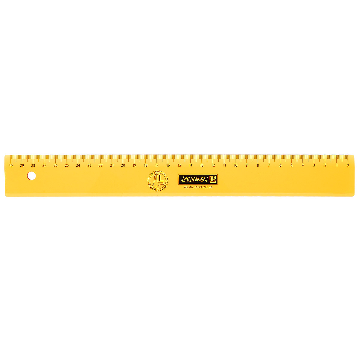Линейка для левши Brunnen, цвет: желтый, 30 см brunnen линейка для левши цвет красный 17 см