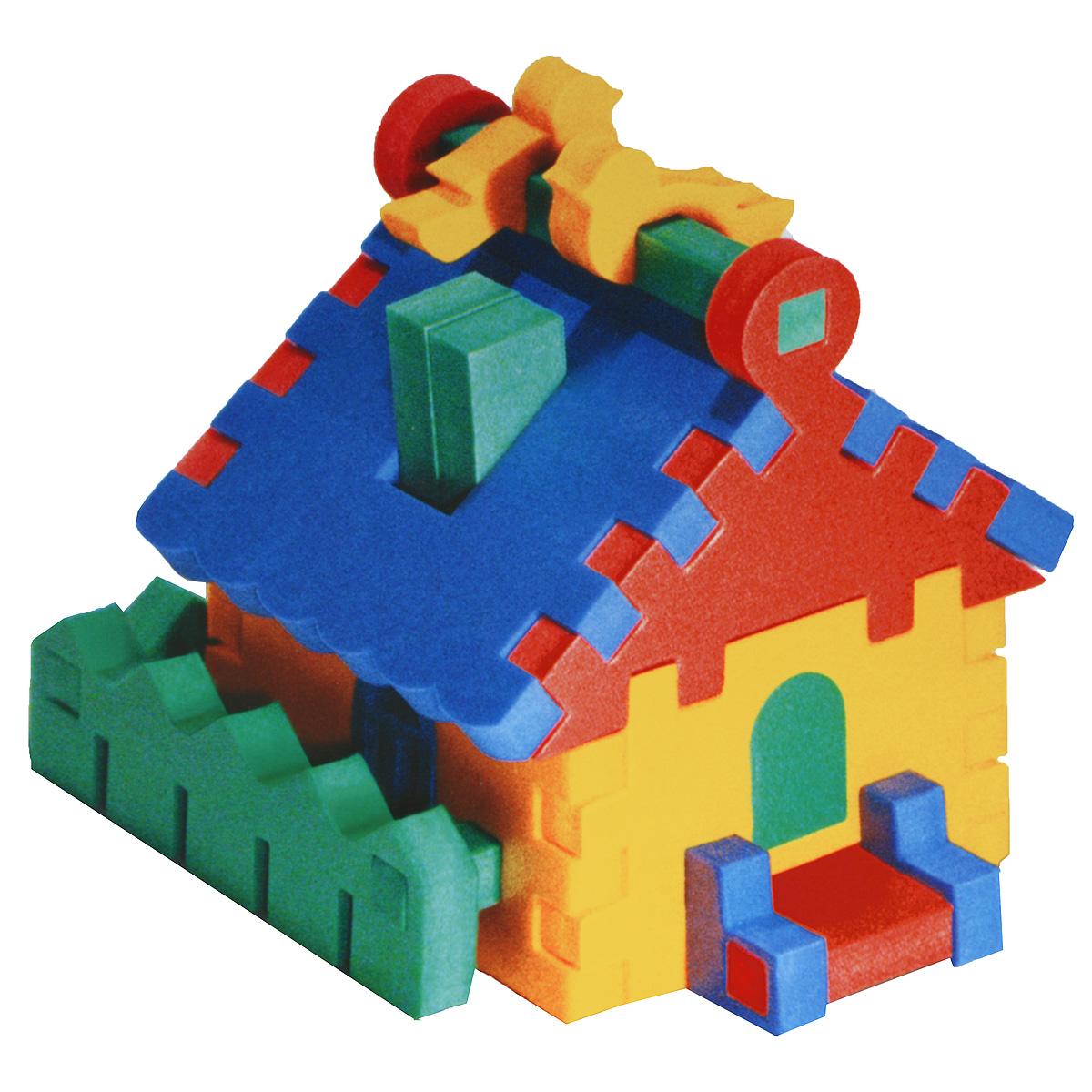 """Мягкий конструктор-пирамидка """"Домик"""" привлечет внимание малыша и не позволит ему скучать. Элементы конструктора выполнены из мягкого, эластичного, прочного материала, который обеспечивает большую долговечность и является абсолютно безопасным для детей. Благодаря особой структуре и свойству материала прилипать к мокрой поверхности, конструктор является идеальной игрушкой для ванны и сделает процесс купания приятной забавой для ребенка. Мягкий конструктор разовьет у ребенка память, воображение, моторику, пространственное и логическое мышление. Порадуйте его таким замечательным подарком!"""