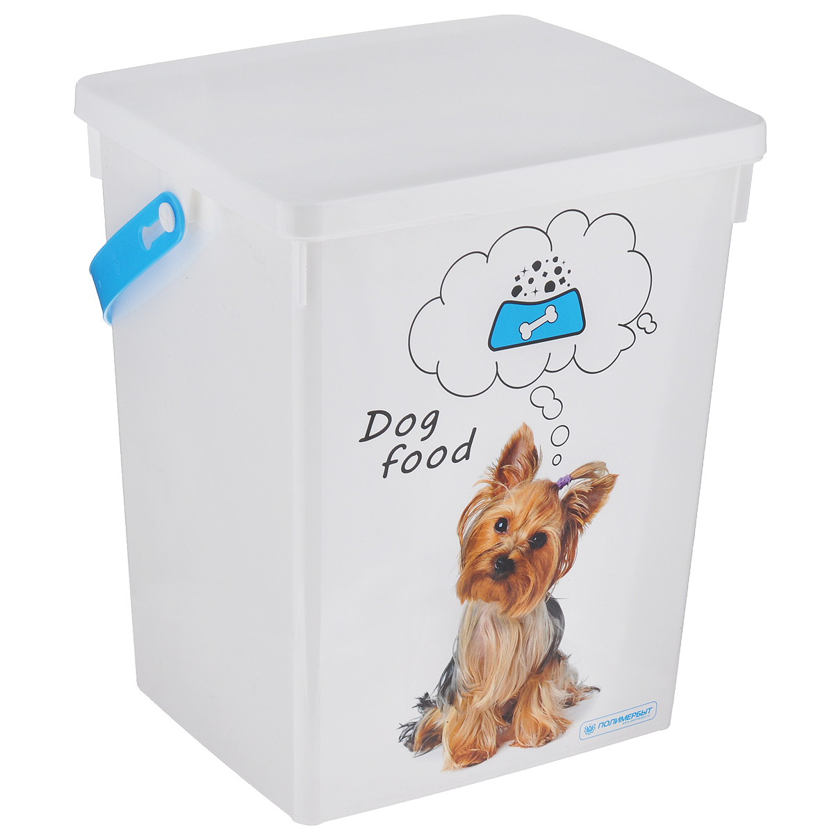 Контейнер для хранения корма Полимербыт Dog Food, цвет: белый, голубой, 5 л131260-000_зеленыйКонтейнер Полимербыт, изготовленный из высококачественного пластика, предназначен для хранения корма для животных. Контейнер оснащен ручкой, благодаря которой можно без проблем переносить его с места на место.В таком контейнере корм останется всегда свежим.