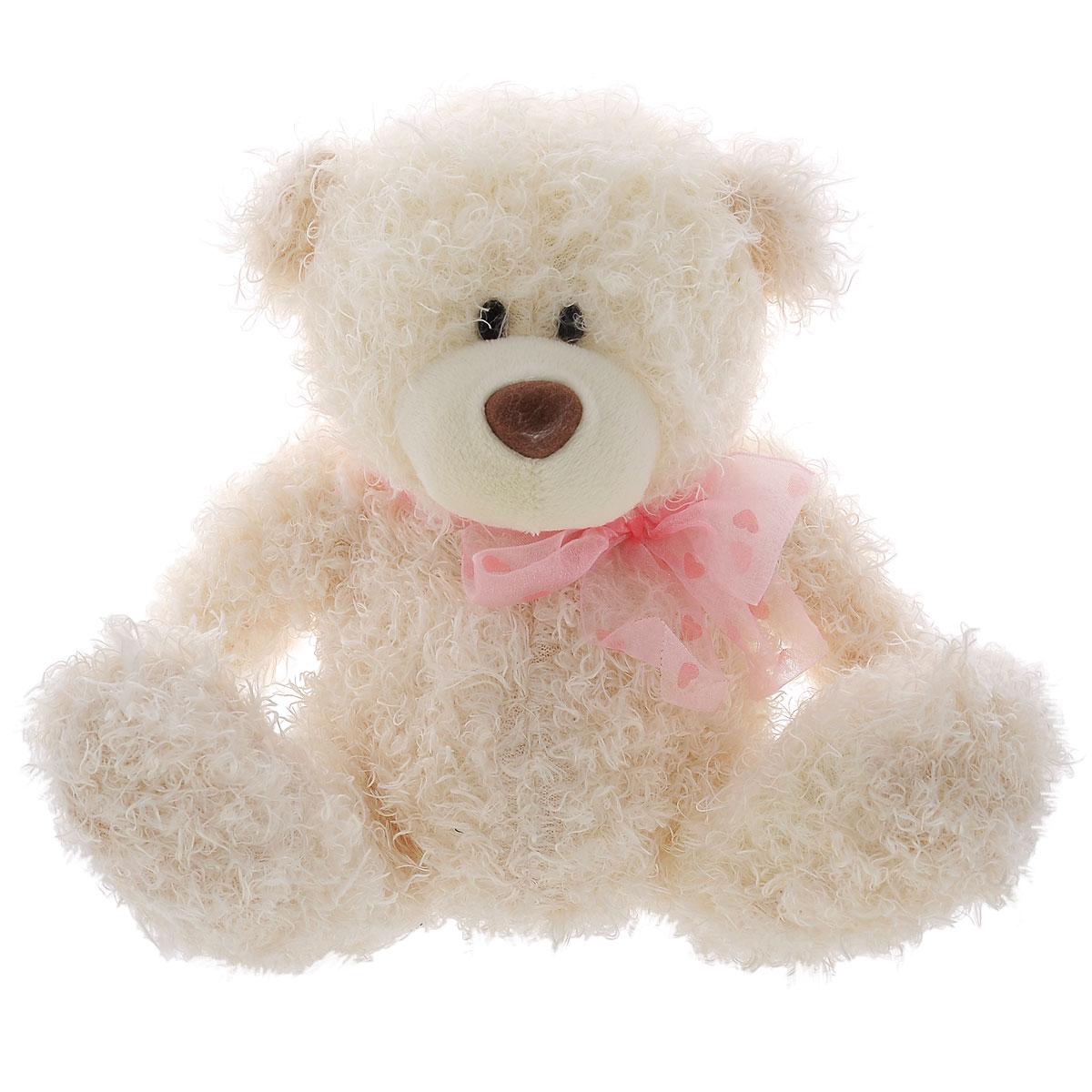 Мягкая игрушка Plush Apple Медведь кудрявый с бантом, 20 см мягкая игрушка plush apple собака с шарфом 28 см