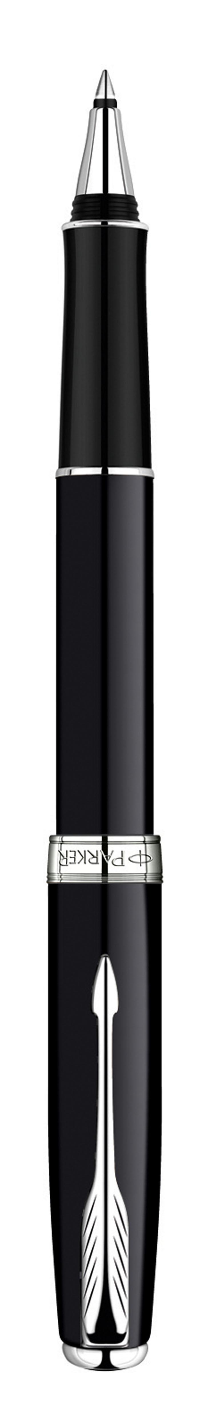 Ручка-роллер Паркер Сонет Блэк Лак Си Ти. Инструмент для письма, линия письма - тонкая, цвет чернил черный, в подарочной упаковке. Произведено во Франции.