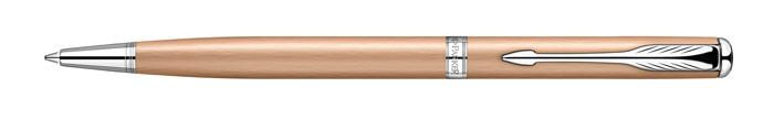 Ручка шариковая Sonnet slim Pink Gold PVD CT. PARKER-S094730072523WDРучка шариковая «Паркер Соннет Слим Пинк Голд Си Ти». Инструмент для письма, линия письма – средняя, цвет чернил – черный, в подарочной упаковке. Произведено во Франции.