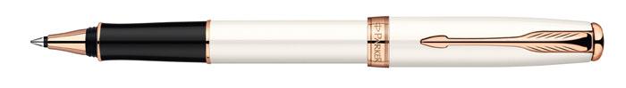 Parker Ручка-роллер Sonnet Pearl Lacquer PGTPARKER-S0947380Линия письма – тонкая, цвет чернил – черный. Корпус и колпачок - сталь, лаковое покрытие, клип - сталь/позолота.Отделка - розовая позолота. Черный стержень в комплекте.