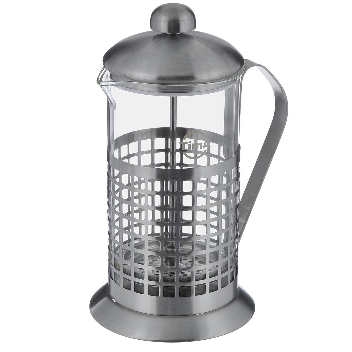 Чайник заварочный TimA Бисквит, 600 мл54 009303Чайник заварочный TimA Бисквит выполнен в виде френч-пресса и представляет собой гибрид заварочного чайника и кофейника. Колба выполнена из жаропрочного стекла, корпус, крышка и поршень изготовлены из нержавеющей стали. Изделие легко разбирается и моется. Прозрачные стенки чайника дают возможность наблюдать за насыщением напитка, а поршень позволяет с легкостью отжать самый сок от заварки и получить напиток с насыщенным вкусом. Заварочный чайник - постоянно используемый предмет посуды, который необходим на каждой кухне. Френч-пресс TimA Бисквит займет достойное место среди аксессуаров на вашей кухне. Можно мыть в посудомоечной машине. Диаметр (по верхнему краю): 9 см. Высота чайника (с крышкой): 21 см. Объем: 600 мл.