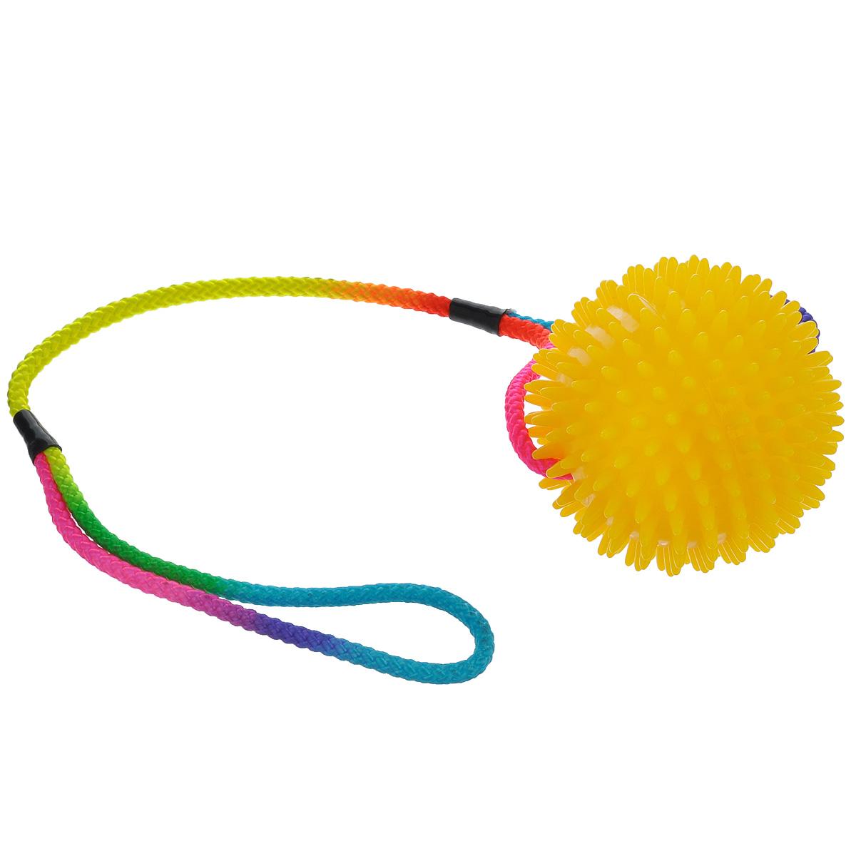 Игрушка для собак V.I.Pet Массажный мяч, на шнуре, цвет: желтый, диаметр 10 см0120710Игрушка для собак V.I.Pet Массажный мяч, изготовленная из ПВХ, предназначена для массажа и самомассажа рефлексогенных зон. Она имеет мягкие закругленные массажные шипы, эффективно массирующие и не травмирующие кожу. Сквозь мяч продет шнур.Игрушка не позволит скучать вашему питомцу ни дома, ни на улице.Диаметр: 10 см.Длина шнура: 50 см.