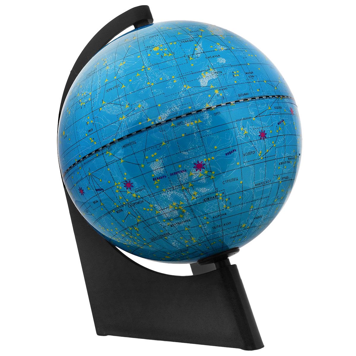 Глобус звездного неба Глобусный мир, изготовленный из высококачественного прочного пластика.Данная модель предназначена для ознакомления с космосом, звездами и созвездиями. На нем нанесены те же круги, что и на картах звёздного неба, - небесные параллели, меридианы, экватор и эклиптика. Глобус имеет функцию подсветки от электрической сети, при включении которой рисунки созвездий, зодиакальные созвездия высвечиваются яркими цветами. Такой глобус станет прекрасным подарком и учебным материалом для дальнейшего изучения астрономии. Помимо этого глобус обладает приятной цветовой гаммой. Изделие расположено на треугольной подставке.  Настольный глобус звездного неба Глобусный мир станет оригинальным украшением рабочего стола или вашего кабинета. Это изысканная вещь для стильного интерьера, которая станет прекрасным подарком для современного преуспевающего человека, следующего последним тенденциям моды и стремящегося к элегантности и комфорту в каждой детали.Масштаб: 1:60 000 000.