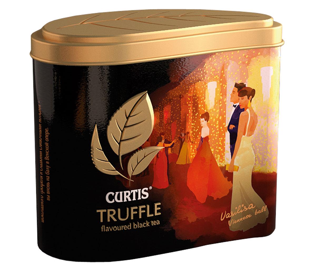 Curtis Truffle Black Tea черный листовой чай, 80 г0120710Curtis Truffle Black Tea - это крупнолистовой цейлонский черный чай со вкусом трюфеля. Шоколадный бархатный вкус черного чая с тонкой сливочной нотой и зернами какао погрузит в сладкие мечты. Окунитесь в мир соблазна с чаем Curtis Truffle Black Tea.
