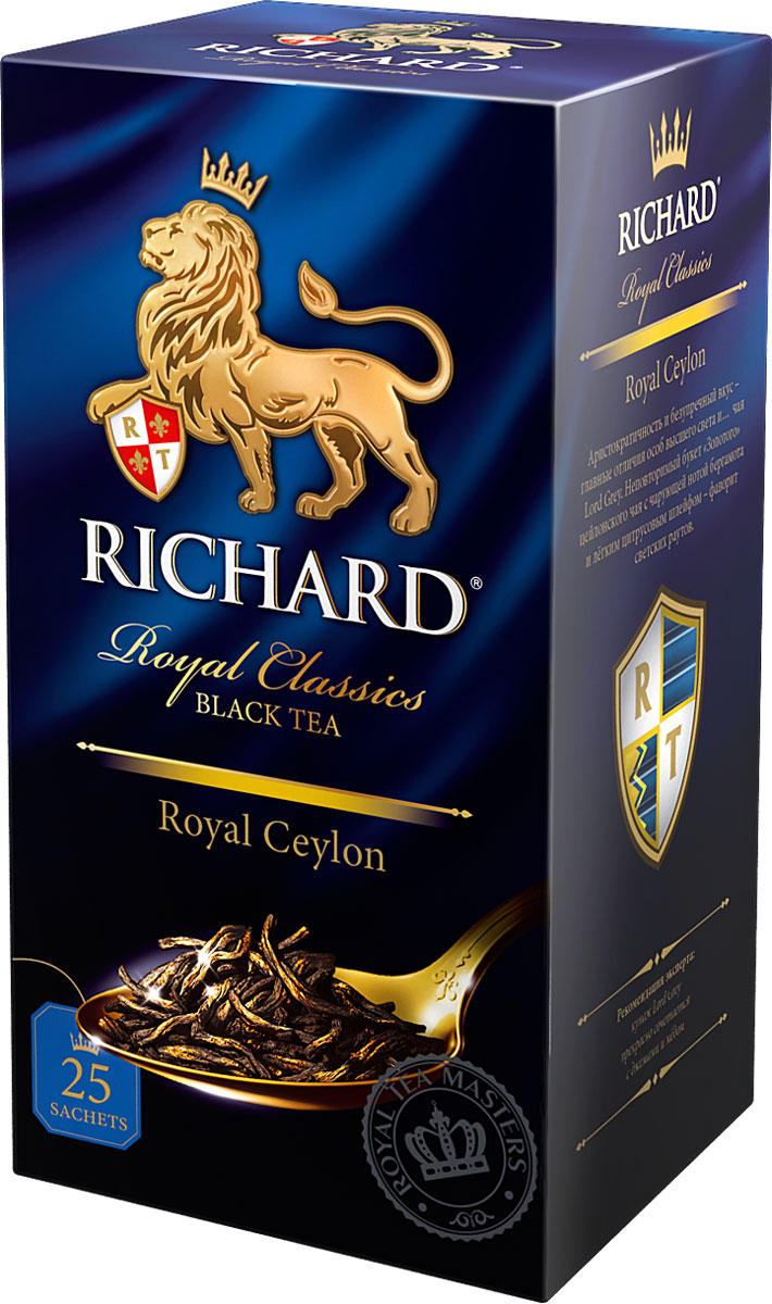 Richard Royal Ceylon черный чай в пакетиках, 25 шт610600Richard Royal Ceylon - черный цейлонский чай в пакетиках, который подарит вам классический вкус и аромат каждое утро.