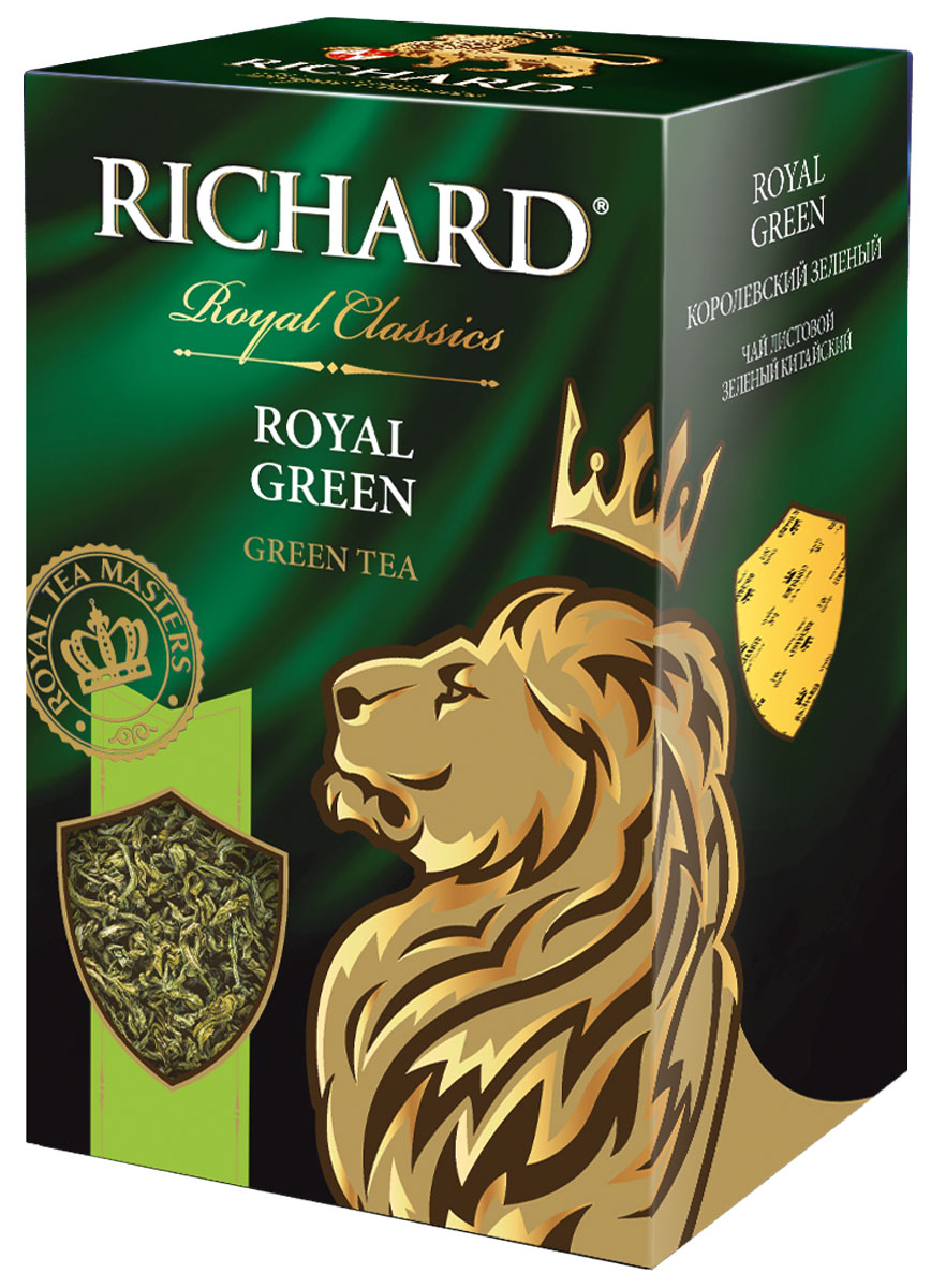 Richard Royal Green зеленый листовой чай, 90 г0120710Richard Royal Green - зеленый листовой китайский чай. Напиток имеет мягкий сбалансированный вкус, а также восстанавливает внутреннюю гармонию и дарит бодрость.