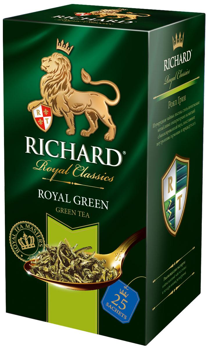 Richard Royal Green зеленый чай в пакетиках, 25 шт0120710Richard Royal Green - зеленый байховый китайский чай в пакетиках. Изумрудные чайные листья, столь почитаемые за мягкий сбалансированный вкус, восстановят внутреннюю гармонию и придадут сил.