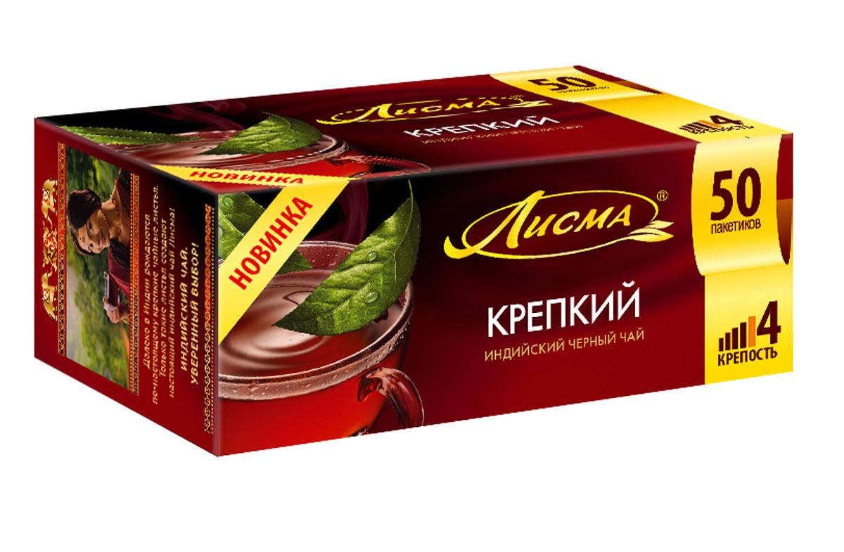 Лисма Крепкий черный чай в пакетиках, 50 шт1306-3Лисма Крепкий - индийский черный байховый чай в пакетиках. Коробка содержит 50 пакетиков по 2 грамма.