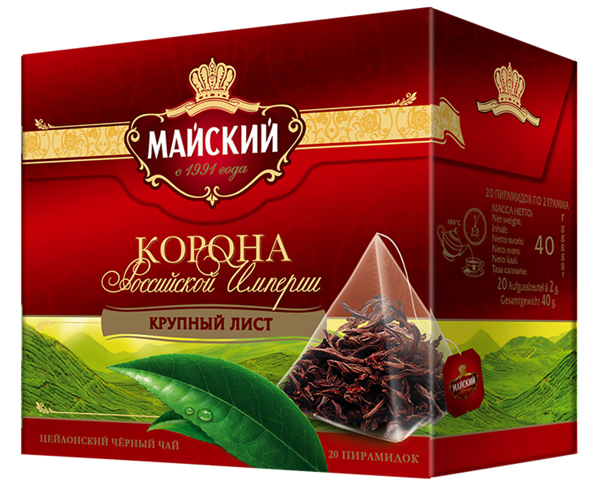 Майский Корона Российской Империи черный чай в пирамидках, 20 шт0120710Майский Корона Российской Империи - уникальный цейлонский крупнолистовой чай. Именно в нем в полной мере раскрывается богатство вкуса и аромата черного чая.