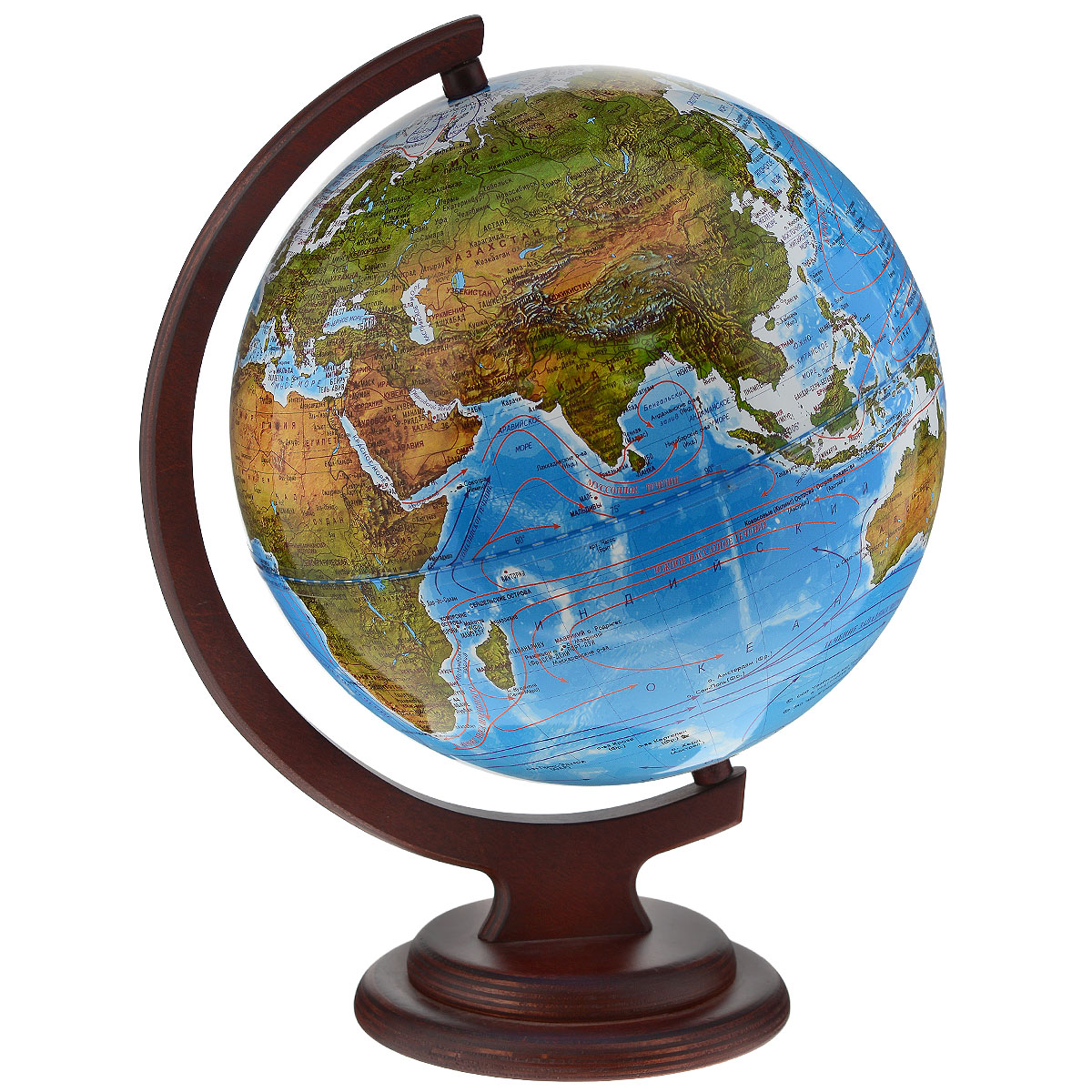 Глобусный мир Ландшафтный глобус, диаметр 25 см, на деревянной подставкеFS-00897Ландшафтный глобус Глобусный мир, изготовленный из высококачественного прочного пластика.Данная модель предназначена для ознакомления с особенностями ландшафта нашей планеты. Помимо этого ландшафтный глобус обладает приятной цветовой гаммой. Глобус дает представление о местоположении материков и океанов, на нем можно рассмотреть особенности ландшафта нашей планеты (рельефы местности, леса, горы, реки, моря, структуру дна океанов, рельеф суши), можно увидеть графическое изображение географических меридианов и параллелей, гидрографическая сеть, а также крупнейшие населенные пункты. На глобусе имеются направления и названия подводных течений. Названия стран на глобусе приведены на русской язык. Изделие расположено на красивой деревянной подставке, что придает этой модели подарочный вид.Настольный глобус Глобусный мир станет оригинальным украшением рабочего стола или вашего кабинета. Это изысканная вещь для стильного интерьера, которая станет прекрасным подарком для современного преуспевающего человека, следующего последним тенденциям моды и стремящегося к элегантности и комфорту в каждой детали.Масштаб: 1:50 000 000.