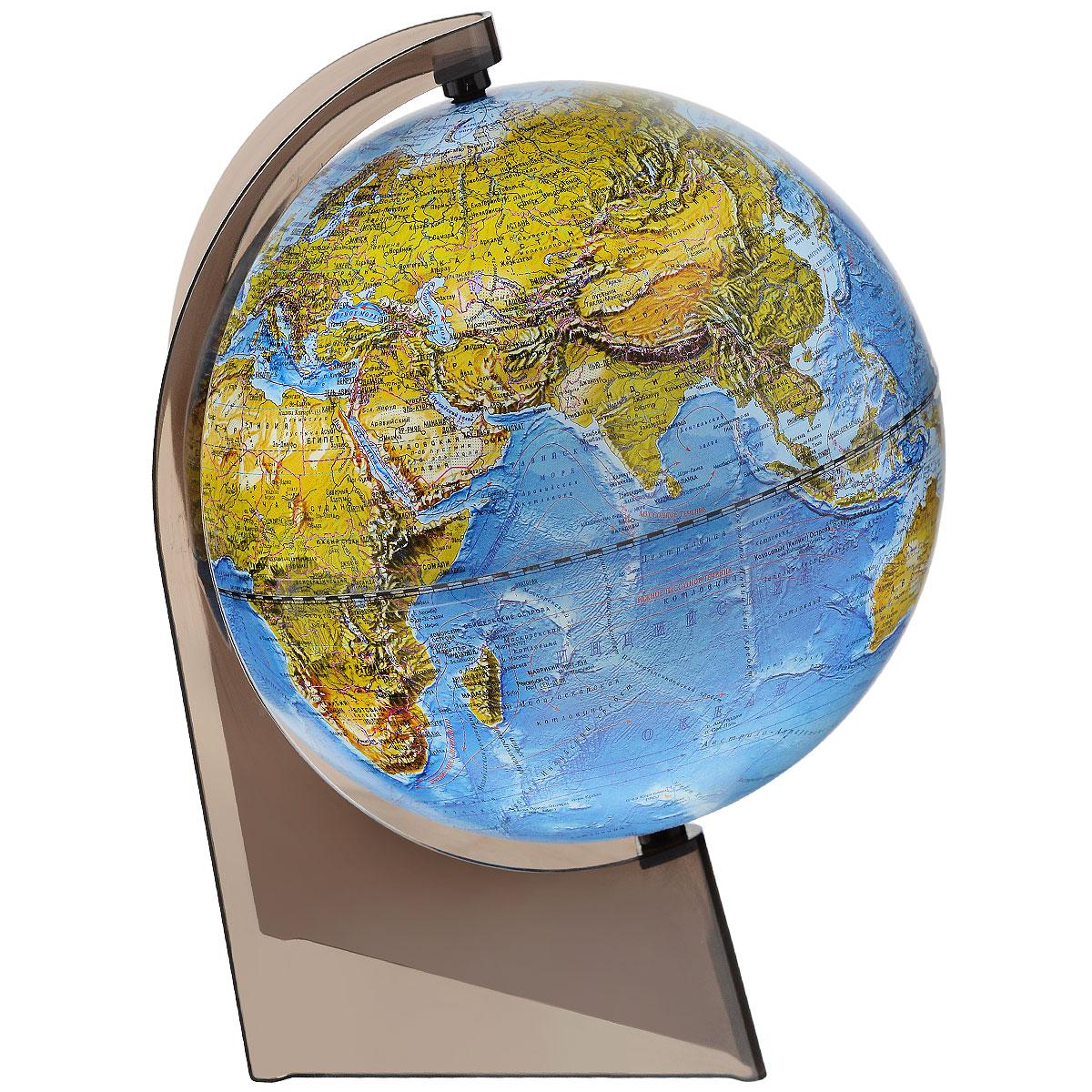 Глобусный мир Глобус ландшафтный диаметр 21 смFS-00897Ландшафтный глобус Глобусный мир, изготовленный из высококачественного прочного пластика.Данная модель предназначена для ознакомления с особенностями ландшафта нашей планеты. Помимо этого ландшафтный глобус обладает приятной цветовой гаммой. Глобус дает представление о местоположении материков и океанов, на нем можно рассмотреть особенности ландшафта нашей планеты (рельефы местности, леса, горы, реки, моря, структуру дна океанов, рельеф суши), можно увидеть графическое изображение географических меридианов и параллелей, гидрографическая сеть, а также крупнейшие населенные пункты. Названия стран на глобусе приведены на русской язык.Настольный ландшафтный глобус Глобусный мир станет оригинальным украшением рабочего стола или вашего кабинета. Это изысканная вещь для стильного интерьера, которая станет прекрасным подарком для современного преуспевающего человека, следующего последним тенденциям моды и стремящегося к элегантности и комфорту в каждой детали.Масштаб: 1:60 000 000.