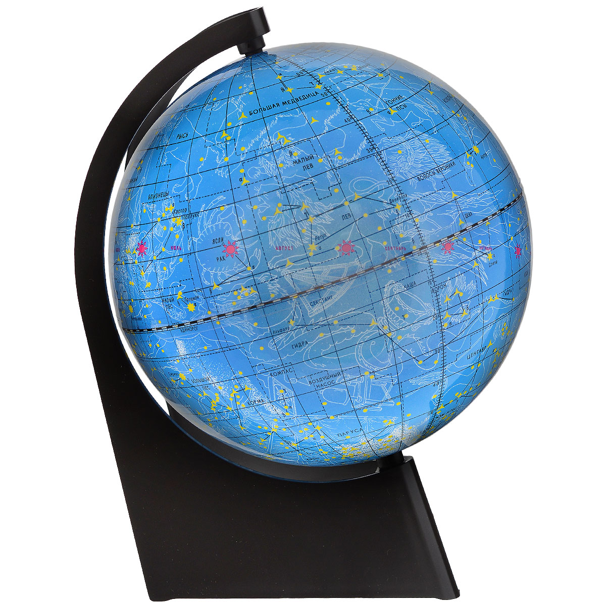Глобусный мир Глобус звездного неба, диаметр 21 см10295Глобус звездного неба Глобусный мир, изготовленный из высококачественного прочного пластика.Данная модель предназначена для ознакомления с космосом, звездами и созвездиями. На нем нанесены те же круги, что и на картах звёздного неба, - небесные параллели, меридианы, экватор и эклиптика. Такой глобус станет прекрасным подарком и учебным материалом для дальнейшего изучения астрономии. Помимо этого глобус обладает приятной цветовой гаммой. Изделие расположено на треугольной подставке.Настольный глобус звездного неба Глобусный мир станет оригинальным украшением рабочего стола или вашего кабинета. Это изысканная вещь для стильного интерьера, которая станет прекрасным подарком для современного преуспевающего человека, следующего последним тенденциям моды и стремящегося к элегантности и комфорту в каждой детали.Масштаб: 1:60 000 000.