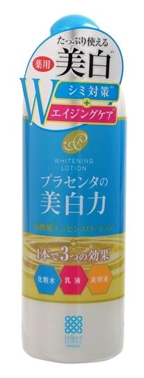 Meishoku Лосьон-молочко с экстрактом плаценты с отбеливающим эффектом, 400 млFS-00897Антивозрастное средство! Предупреждает появление пигментных пятен!Увлажняет и отбеливает кожу, придавая ей здоровый и сияющий вид!Сила отбеливания - в плаценте!Совмещая действие лосьона и молочка, средство глубоко увлажняет, поддерживает оптимальный уровень влаги в клетках кожи, придаёт ей упругость и эластичность. Активные компоненты в составе средства обладают увлажняющими, восстанавливающими и отбеливающими свойствами:Экстракт плаценты регулирует образование меланина в клетках кожи, предупреждая тем самым появление пигментных пятен и веснушек. Предотвращает сухость, увлажняет. Кожа становится более здоровой и сияющей.Коллаген увлажняет, предупреждает появление морщинок.Экстракты перловой крупы и шелковицы - увлажняющие растительные экстракты, обладают отбеливающими свойствами.В составе средства используется экстракт плаценты высокой очистки и только собственного производства.