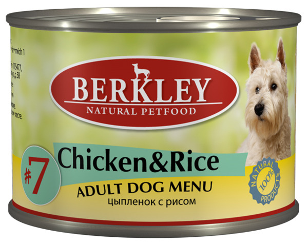 Консервы Цыпленок с рисом для взр. собак (#7) 75003, 200 г12171996Полноценное консервированное питание для собак. Возраст: 1-8Состав: цыпленок 50%, домашняя птица 17%, бульон 27,5%, рис 4%, минералы 1%, оливковое масло 0,5%.Не содержит сои, искусственных красителей, ароматизаторов и консервантов.Анализ: Протеин 11,0%, жир 7%, зола 2,2%, клетчатка 0,3%, влажность 76%, кальций 0,28%, фосфор 0,20%.Минеральные вещества: Добавки (на 1 кг. продукта): Витамин A-3.000 IE, витамин D3-200 IE, витамин E-30 мг, витамин C-80 мг, витамин B1-3 мг, витамин B2-2,2 мг, витамин B6-1,5 мг, витамин B12-75 мг, никотиновая кислота-16 мг, пантотенат кальция-9 мг, фолиевая кислота-0,25 мг, биотин-250 мкг, хлорид холина-750 мг, сульфат цинка - 60 мг, сульфат марганца-18 мг, йод -1,1 мг, селен (селенит)- 0,1 мг.Условия хранения: Хранить при температуре от 0° до 30°С. Беречь от воздейтвия прямых солнечных лучей