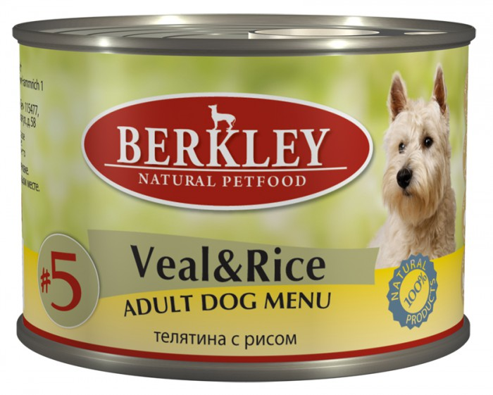 Консервы Berkley №5, для взрослых собак, телятина с рисом, 200 г75008Консервы Berkley №5 - это полноценное консервированное питание для собак. Состав: телятина 67%, бульон 26,5%, рис 5%, минералы 1%, оливковое масло 0,5%.Не содержит сои, искусственных красителей, ароматизаторов и консервантов.Анализ: Протеин 11,2%, жир 6,9%, зола 1,9%, клетчатка 0,3%, влажность 76%, кальций 0,28%, фосфор. Минеральные вещества:Добавки (на 1 кг. продукта): Витамин A-3.000 IE, витамин D3-200 IE, витамин E-30 мг, витамин C-80 мг, витамин B1-3 мг, витамин B2-2,2 мг, витамин B6-1,5 мг, витамин B12-75 мг, никотиновая кислота-16 мг, пантотенат кальция-9 мг, фолиевая кислота-0,25 мг, биотин-250 мкг, хлорид холина-750 мг, сульфат цинка - 60 мг, сульфат марганца-18 мг, йод -1,1 мг, селен (селенит)- 0,1 мг.