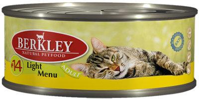 Консервы Berkley, для кошек с избыточным весом, телятина и кролик, 100 г10326Консервы Berkley - полноценное консервированное питание для взрослых кошек, страдающих избыточным весом. Нежная телятина и мясо кролика наилучшего качества в ароматном бульоне. Консервы приготовлены исключительно из натурального сырья. Не содержат сои, искусственных красителей, ароматизаторов и консервантов.Состав: телятина - 55%, кролик - 15%, бульон - 29%, минералы - 1%.Анализ: протеин - 8,1%, жир - 4,1%, зола - 1,9%, клетчатка - 0,3%, влажность - 84%.Добавки на 1 кг продукта: витамин А 3000 ME, витамин D3 200 МЕ, витамин Е 30 мг, таурин 1,5 г.Товар сертифицирован.