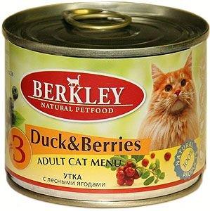 Консервы Berkley, для взрослых кошек, утка с ягодами, 200 г0120710Консервы Berkley - полноценное консервированное питание для взрослых кошек. Консервы приготовлены исключительно из натурального сырья. Не содержат сои, искусственных красителей, ароматизаторов и консервантов.Состав: утка - 50%, домашняя птица - 20%, бульон - 27,5%, клюква - 0,5%, голубика - 0,5%, витамины и минералы - 1%, масло лосося - 0,5%. Анализ: протеин - 10,5%, жир - 6,0%, зола - 2,1%, клетчатка - 0,3%, влажность - 79%, кальций - 0,25%, фосфор - 0,2%, магний - 0,02%.Добавки (на 1 кг продукта): витамин A 3000 МE, витамин D3 200 МE, витамин E 30 мг, селен 0,1 мг, таурин 1,5 г.Товар сертифицирован.
