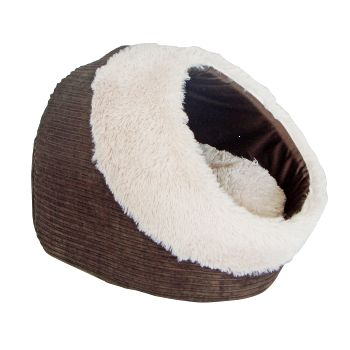Домик для кошки THAIS BROWN 40х40х28см0120710Домик с комбинированной внешней отдекой из коричневого вельвета и искусственного меха. Подушка отделана искусственным мехом.