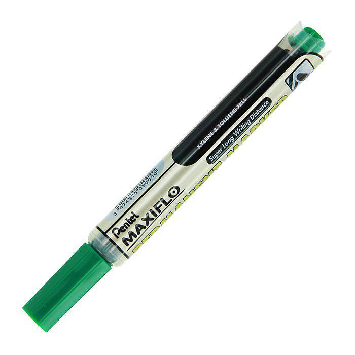 Pentel Маркер перманентный Maxiflo, цвет: зеленыйS122/2 S122-01/2Маркер-выделитель текста Maxiflo, выполненный из пластика, станет незаменимым аксессуаром в учебе или работе.Маркер содержит жидкие чернила зеленого цвета, которые обеспечивают ровные и четкие линии.Маркер с жидкими чернилами и кнопкой подкачки чернил.Длительность письма Maxiflo в 4 раза превышает обычные маркеры и обеспечивает безупречно яркие надписи! Диаметр стержня 4.5 мм.