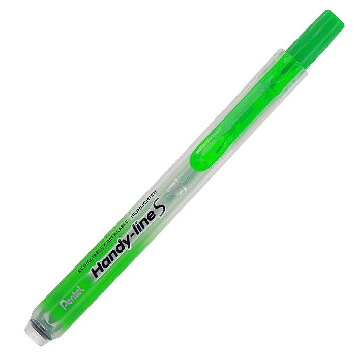 Pentel Текстовыделитель Handy-Lines, цвет: салатовый555/4Текстовыделитель Handy-Lines с функцией чистый карман салатового цвета станет незаменимым как на столе школьника, так и студента. Стержень автоматически убирается при нажатии на кнопку. Такой маркер никогда не испачкает вашу одежду!Обеспечивает ровные четкие линии толщиной 1,0-4,5 мм.
