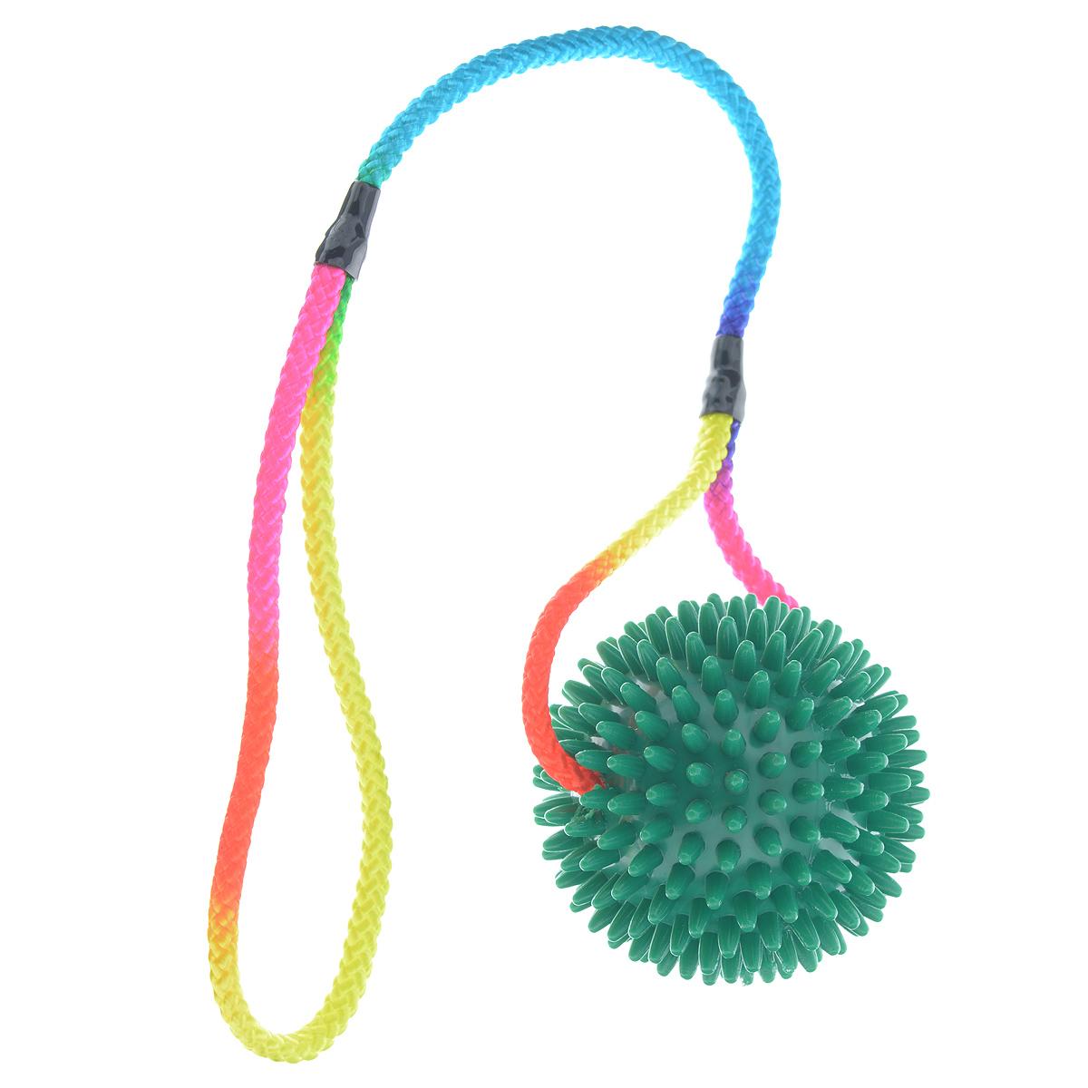 Игрушка для собак V.I.Pet Массажный мяч, на шнуре, цвет: зеленый, диаметр 9 см0120710Игрушка для собак V.I.Pet Массажный мяч, изготовленная из ПВХ, предназначена для массажа и самомассажа рефлексогенных зон. Она имеет мягкие закругленные массажные шипы, эффективно массирующие и не травмирующие кожу. Сквозь мяч продет шнур.Игрушка не позволит скучать вашему питомцу ни дома, ни на улице.Диаметр: 9 см.Длина шнура: 50 см.