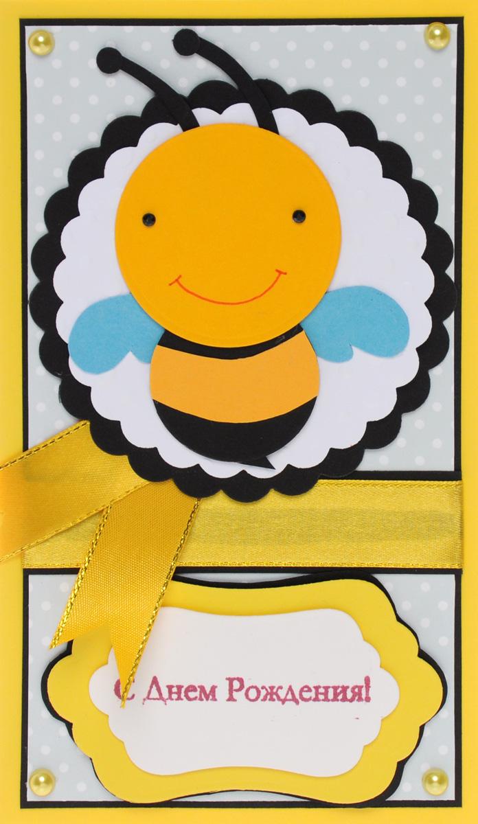Открытка-конверт С Днем Рождения!. Студия Тетя Роза. ОЖ-000331103Открытка выполнена из высокохудожественного картона, украшена декоративными элементами в виде пчелки. Может стать как прекрасным дополнением к вашему подарку, так и самостоятельным подарком, так как открытка одновременно является и конвертом, в который вы можете вложить ваш денежный подарок или подарочный сертификат, или же просто написать ваши пожелания на вкладыше.Открытки ручной работы от студии Тетя Роза отличаются своим неповторимым и ярким стилем. Каждая уникальна и выполнена вручную мастерами студии. Открытка упакована в пакетик для сохранности. Обращаем ваше внимание на то, что открытка может незначительно отличаться от представленной на фото.
