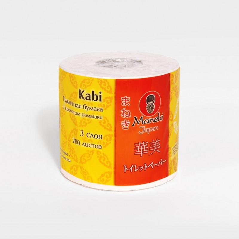 Бумага туалетная Maneki Kabi, трехслойная, цвет: белый, 10 рулонов787502Туалетная бумага Maneki Kabi обладает приятным ароматом ромашки. Трехслойные листы имеют цветочный рисунок с тиснением. Необыкновенно мягкая и шелковистая бумага изготовлена из экологически чистого, высококачественного сырья - древесной целлюлозы. Мягкая, нежная, но в тоже время прочная, бумага не расслаивается и отрывается строго по линии перфорации.Длина рулона: 39,2 м. Количество слоев: 3. Количество листов: 280. Размер листа: 13,8 см х 10 м.