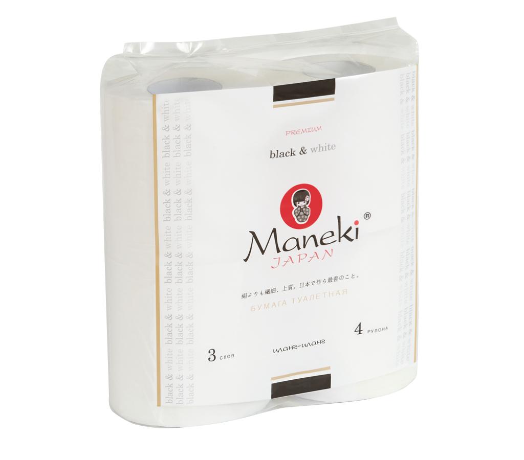 Бумага туалетная Maneki, трехслойная, цвет: белый, 4 рулона010-01199-23Туалетная бумага Maneki обладает приятным ароматом иланг-иланг. Трехслойные листы имеют рисунок с тиснением. Необыкновенно мягкая и шелковистая бумага изготовлена из экологически чистого, высококачественного сырья - древесной целлюлозы. Мягкая, нежная, но в тоже время прочная, бумага не расслаивается и отрывается строго по линии перфорации.Длина рулона: 23 м. Количество слоев: 3. Количество листов: 167. Размер листа: 13,8 см х 10 м.
