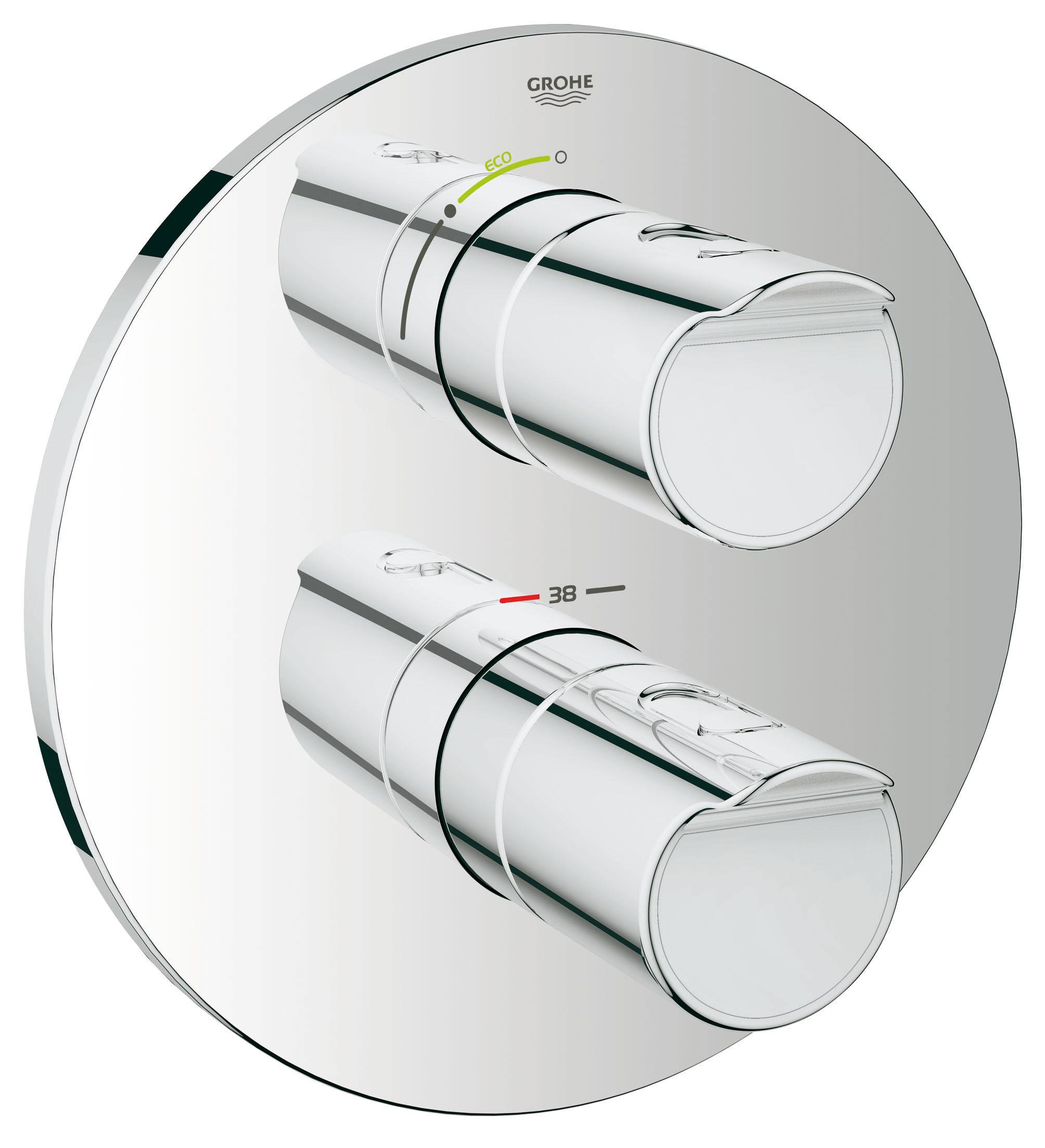 Термостатический смеситель для душа GROHE Grohtherm 2000 (внешняя панель для арт. 35500000) (19354001)19354001Комплект верхней монтажной части для GROHE Rapido T 35 500 000Без встраиваемого механизмаGROHE StarLight хромированная поверхность Стопор безопасности при 38°CРукоятка расхода с экономичной кнопкой GROHE EcoButton И индивидуально устанавливаемым стопоромCarbodur керамический вентиль 1/2?, 180°С настенными розетками GROHE QuickFix ( скрытые эксцентрики, уплотнение, скрытый монтаж)