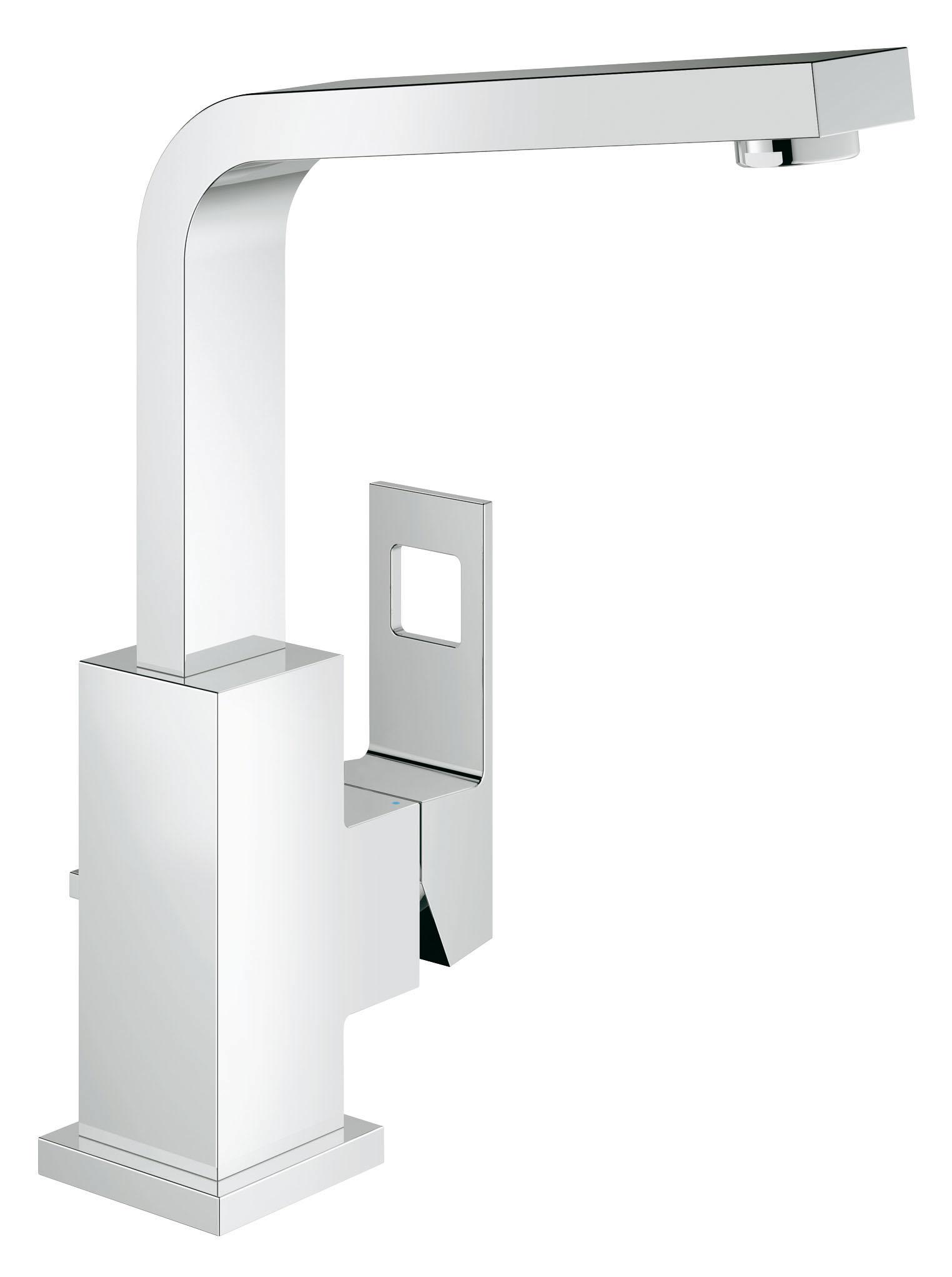 Смеситель для раковины GROHE Eurocube (23135000)68/5/3Стильный минималистичный дизайн Этот смеситель для раковины из коллекции Eurocube тщательно продуман во всем до мельчайших деталей и отличается оригинальным и эффектным внешним видом. Он имеет единственный боковой рычаг управления и непременно станет центром внимания в интерьере Вашей ванной комнаты. Его привлекательный внешний вид удачно дополняется не менее приятным набором функциональных характеристик. Высокий излив, вращающийся в радиусе 90°, идеально сочетается с наиболее крупными раковинами и позволяет без затруднений наполнять высокие емкости и мыть голову в раковине. В конструкции рычага применяется технология GROHE SilkMove, благодаря которой он плавно движется во всех направлениях и дает возможность с легкостью управлять температурой и напором воды. Сливной клапан легко открывается и закрывается с помощью подъемного штока, встроенного в корпус смесителя сзади. Благодаря своим характерным кубовидным формам и хромированному покрытию GROHE StarLight, этот смеситель станет восхитительным акцентом в интерьере Вашей ванной комнаты и сохранит свой безупречный сияющий вид даже после многих лет службы.Особенности:Монтаж на одно отверстие Металлический рычаг GROHE SilkMove керамический картридж 28 мм GROHE StarLight хромированная поверхностьПоворотный, трубкообразный излив сОграничителем поворота Аэратор Сливной гарнитур 1 1/4? Гибкая подводка Монтажная система GROHE QuickFix Plus Ограничитель температуры Видео по установке является исключительно информационным. Установка должна проводиться профессионалами! Характеристики:Материал: металл. Цвет: хром. Количество монтажных отверстий: 2. Размер упаковки: 48 см x 20 см x 10,2 см. Артикул: 23135000.