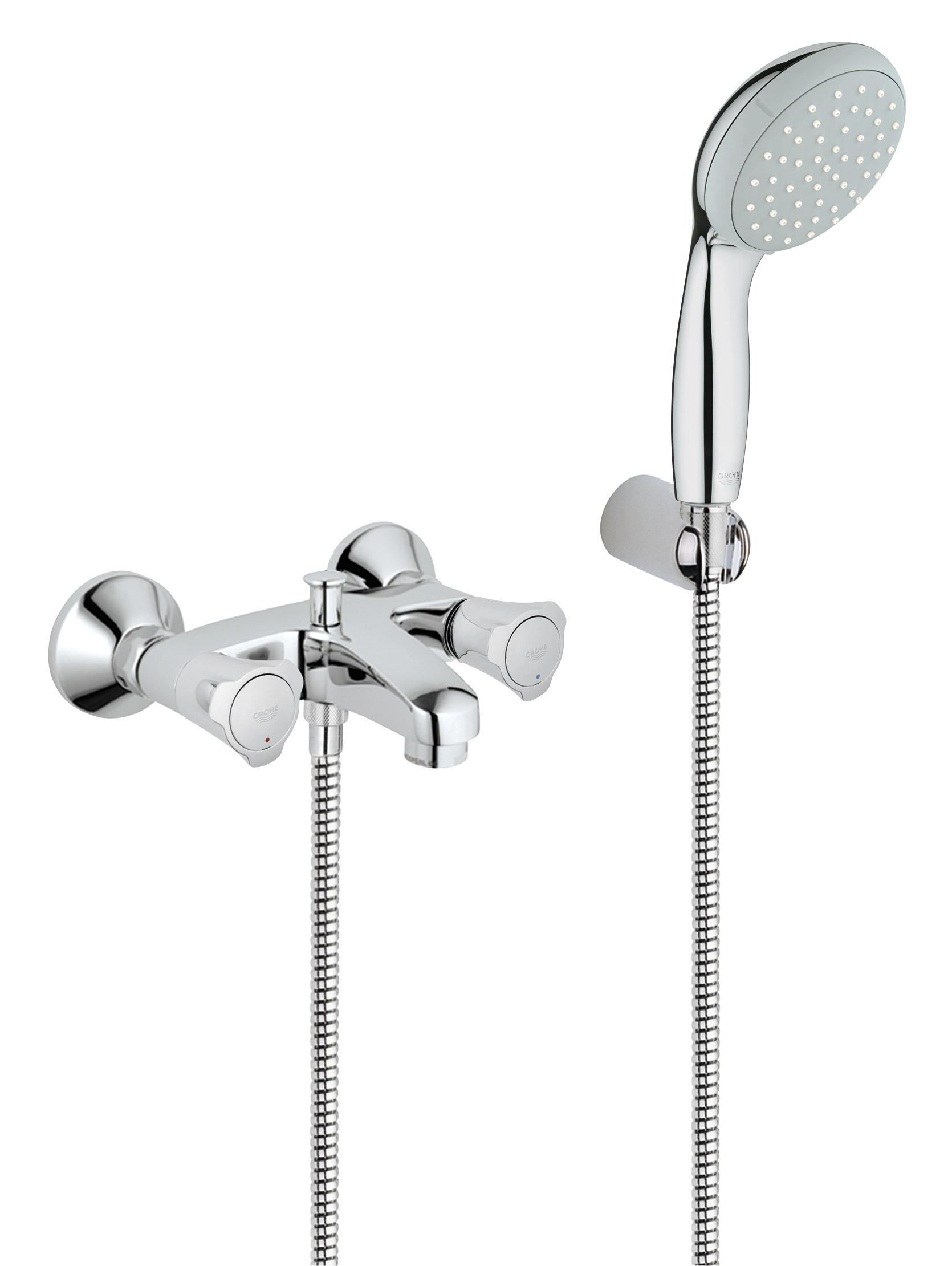 Смеситель для ванны GROHE Costa L с душевым набором (25460001)D5000Настенный монтаж Металлические рукоятки С теплоизоляцией Привинчивающаяся Вентиль Longlife с резиновым уплотнением Автоматический переключатель: ванна/душ Аэратор Скрытые S-образные эксцентрики С душевым гарнитуром Включает в себя: Ручной душ New Tempesta 100, один вид струи, 9,5 l/мин (27 923 000) Настенный держатель ручного душа (28 605 000) Душевой шланг Relexaflex 1500 мм 1/2? x 1/2? (28 151 000) GROHE StarLight хромированная поверхность Видео по установке является исключительно информационным. Установка должна проводиться профессионалами!