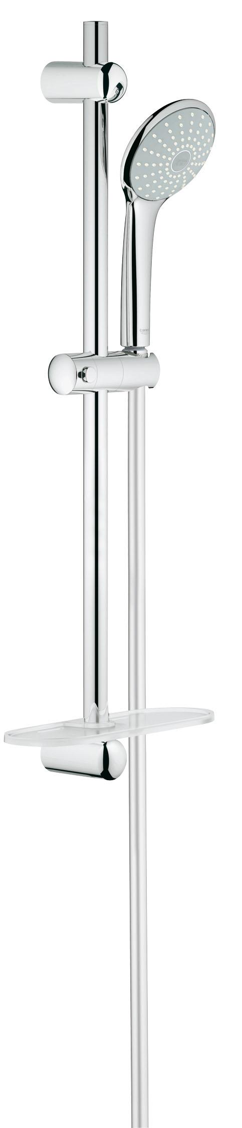Душевой комплект GROHE Euphoria, штанга 600мм. (27266001)BL505Включает в себя: Ручной душ Mono (27 265) Душевая штанга, 600 мм (27 499 000) GROHE QuickFix(регулируемое расстояние между настенными креплениями штанги позволяет использовать для монтажа уже имеющиеся отверстия в стене) Душевой шланг 1750 мм (28 388 000) Полочка GROHE EasyReach™(27 596 000) GROHE DreamSpray превосходный поток воды GROHE StarLight хромированная поверхностьС системой SpeedClean против известковых отложений Внутренний охлаждающий канал для продолжительного срока службы Twistfree против перекручивания шлангаВидео по установке является исключительно информационным. Установка должна проводиться профессионалами!