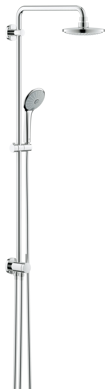 Душевая система GROHE Euphoria с переключателем (27421001)130S150M19Включает в себя:Горизонтальный поворотный душевой Кронштейн 450 мм Переключатель с верхнего на ручной душВерхний душ Euphoria Cosmopolitan (27 492 000)С режимом RainС шаровым шарниромУгол поворота ± 15°Ручной душ Euphoria 110 Massage (27 239 000)Регулируется по высоте с помощью Скользящего элементаSilverflex Душевой шланг 800 ммПодключение воды к смесителю через 1/2?-резьбу металлического шланга (28 144 000) Душевой шланг 1750 мм (28 388 000)Минимальный расход воды 7л/минGROHE EcoJoy ограничитель расхода воды 9,5 л/мин GROHE DreamSpray превосходный поток водыGROHE StarLight хромированная поверхность С системой SpeedClean против известковых отложенийВнутренний охлаждающий канал для продолжительного срока службыTwistfree против перекручивания шлангаСовместим с проточным водонагревателем От 18 kВ/чРекомендованное минимальное давление 1.0 бар