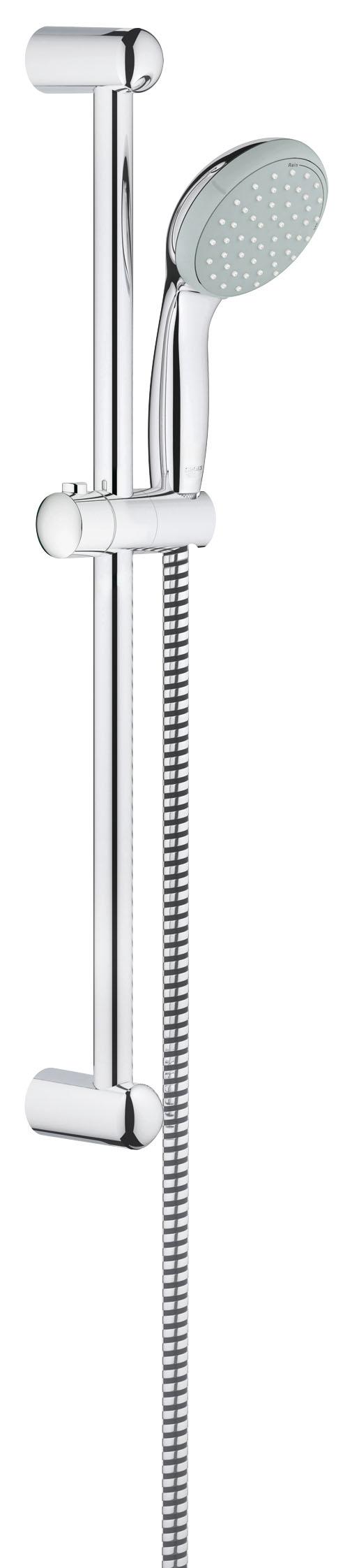 Душевой комплект GROHE Tempesta Classic II (27598000)11343GROHE New Tempesta 100: душевой гарнитур со штангой длиной 600 мм и душевой головкой диаметром 100 мм с двумя режимами струи Этот стильный гарнитур, состоящий из ручного душа серии GROHE New Tempesta, душевой штанги и душевого шланга, станет идеальным выбором для модернизации Вашей ванной комнаты. Благодаря сияющему хромированному покрытию GROHE StarLight и таким практичным особенностям, как силиконовое кольцо ShockProof для защиты ручного душа от повреждений при падении, данный гарнитур воплощает собой великолепное сочетание дизайна и функциональности. Форсунки душевой головки изготовлены по технологии SpeedClean и легко очищаются от известкового налета легким протиранием. Это позволит Вам тратить меньше времени на уборку, а больше – на то, чтобы наслаждаться расслабляющим душем в стиле спа с двумя режимами струи – расслабляющим Rain, напоминающим теплый летний дождь, или интенсивным Jet, помогающим взбодриться. И в том, и в другом режиме технология GROHE DreamSpray обеспечивает равномерность потока воды.Особенности:Включает в себя: Ручной душ (27 597 000) Душевая штанга, 600 мм (27 523 000) Душевой шланг Relexaflex 1750 мм 1/2? x 1/2? (28 154 000) GROHE DreamSpray превосходный поток воды GROHE StarLight хромированная поверхностьС системой SpeedClean против известковых отложений Внутренний охлаждающий канал для продолжительного срока службы ShockProof силиконовое кольцо, предотвращающееПовреждение поверхности при падении ручного душа Может использоваться с проточным водонагревателемВидео по установке является исключительно информационным. Установка должна проводиться профессионалами! Характеристики: Материал: ABS-пластик, металл. Высота штанги: 60 см. Длина шланга: 175 см. Размер упаковки: 68 см х 15 см х 7,5 см. Артикул: 27598000.