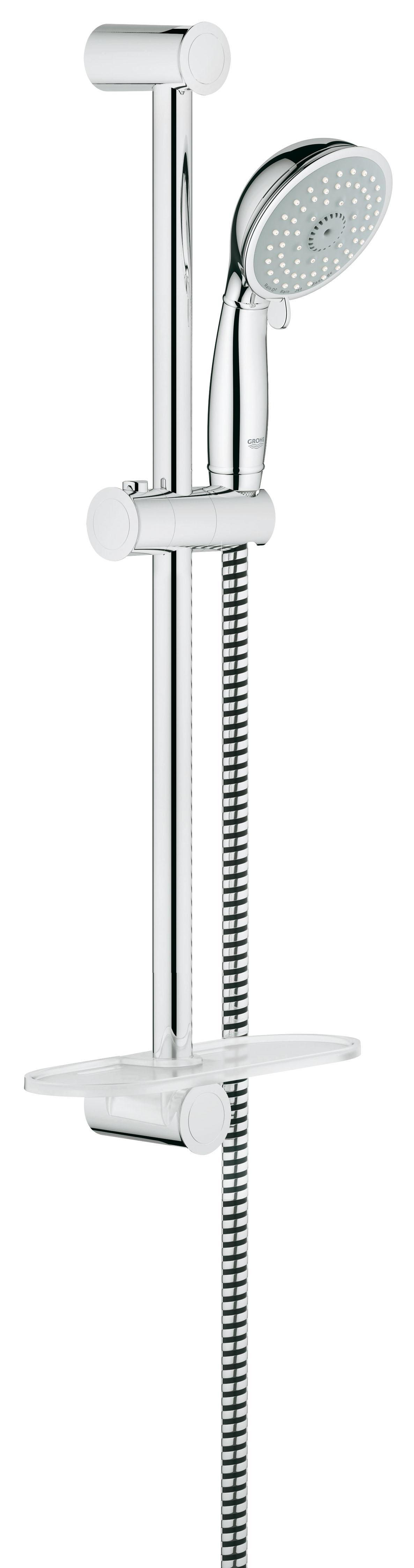 Душевой комплект GROHE New Tempesta, штанга 600 мм. (27609000)34195001Душевой комплект GROHE New Tempesta включает в себя: ручной душ, душевую штангу 600 мм, душевой шланг 1750 мм, и полочку GROHE EasyReach. Технология SpeedClean предотвращает известковые отложения, а внутренний охлаждающий канал значительно продлевает срок службы. Система Twistfree препятствует перекручиванию шланга. Технология Grohe EcoJoy позволяет уменьшать расход воды до 9,5 л/мин. Данная модель подходит для проточных водонагревателей.