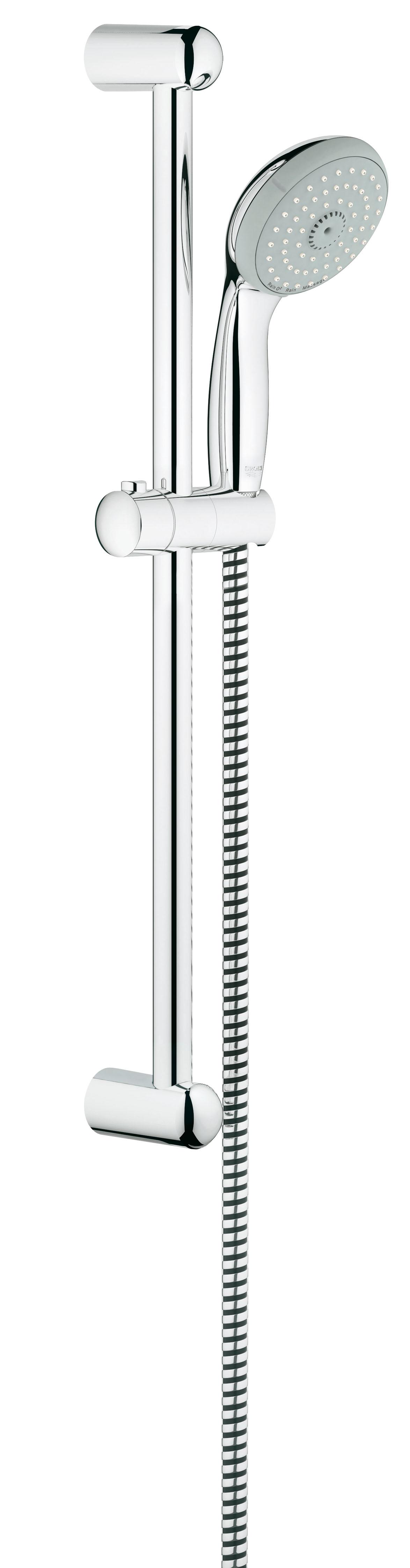 Душевой комплект GROHE New Tempesta, штанга 600мм. (27794000)BL505GROHE New Tempesta 100: душевой гарнитур со штангой, с тремя режимами струи и глянцевым хромированным покрытием Этот душевой гарнитур из серии GROHE New Tempesta 100 станет эффектным акцентом в интерьере Вашей ванной комнаты. Износостойкое хромированное покрытие GROHE StarLight придает ручному душу, душевой штанге и шлангу восхитительный блеск, приковывающий взгляд, а также неприхотливость в уходе. Силиконовое кольцо ShockProof обеспечивает ручному душу защиту от повреждений в случае падения. В душевую головку встроена предотвращающая известкование система SpeedClean, благодаря которой для очищения силиконовых форсунок от известкового налета достаточно их бережно протереть. Наслаждайтесь расслабляющими водными процедурами в стиле спа, пользуясь тремя режимами струи, среди которых – GROHE Rain O?, создающий восхитительный, ласковый, насыщенный пузырьками воздуха поток воды, дарящий ощущение полного блаженства. Технология GROHE DreamSpray обеспечивает равномерное распределение воды через все форсунки. Привнесите элемент роскоши в атмосферу своей ванной комнаты с помощью этого высокофункционального душевого гарнитура со штангой. Особенности:Включает в себя: Душевая штанга, 600 мм (27 523 000) Душевой шланг Relexaflex 1750 мм 1/2? x 1/2? (28 154 000) GROHE DreamSpray превосходный поток воды GROHE StarLight хромированная поверхностьС системой SpeedClean против известковых отложений Внутренний охлаждающий канал для продолжительного срока службы ShockProof силиконовое кольцо, предотвращающееПовреждение поверхности при падении ручного душа Может использоваться с проточным водонагревателемВидео по установке является исключительно информационным. Установка должна проводиться профессионалами!