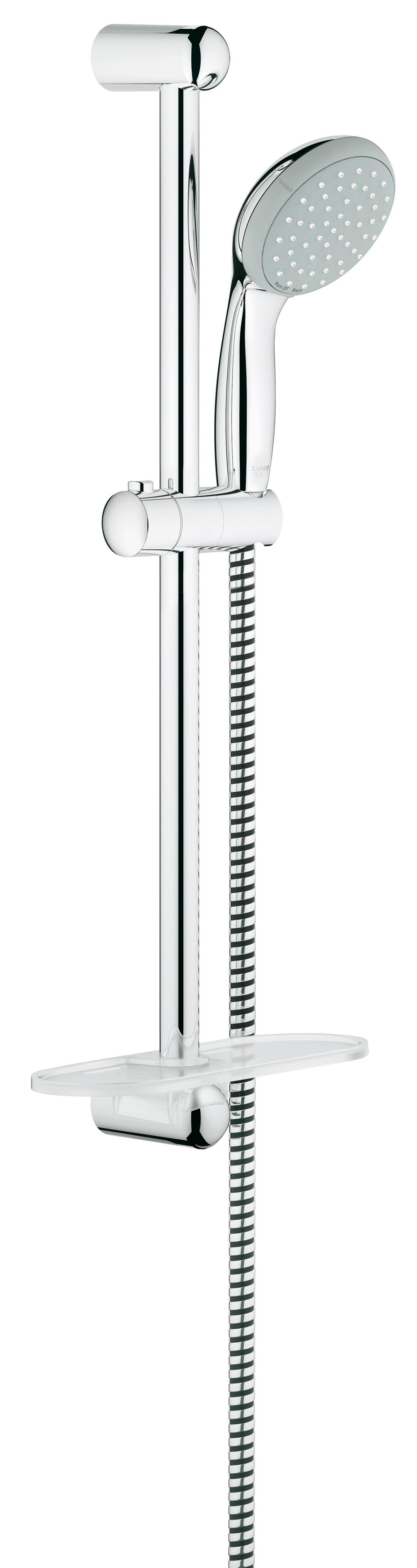 Душевой комплект с полочкой GROHE New Tempesta, штанга 600мм. (27926000)BL505Состоит из Ручной душ (27 597 00E) Душевая штанга, 600 мм (27 523 000) Душевой шланг Relexaflex 1750 мм 1/2? x 1/2? (28 154 000) Полочка GROHE EasyReach™(27 596 000) GROHE DreamSpray превосходный поток воды GROHE CoolTouch GROHE StarLight хромированная поверхностьС системой SpeedClean против известковых отложений Внутренний охлаждающий канал для продолжительного срока службы ShockProof силиконовое кольцо, предотвращающееПовреждение поверхности при падении ручного душа Может использоваться с проточным водонагревателемВидео по установке является исключительно информационным. Установка должна проводиться профессионалами!