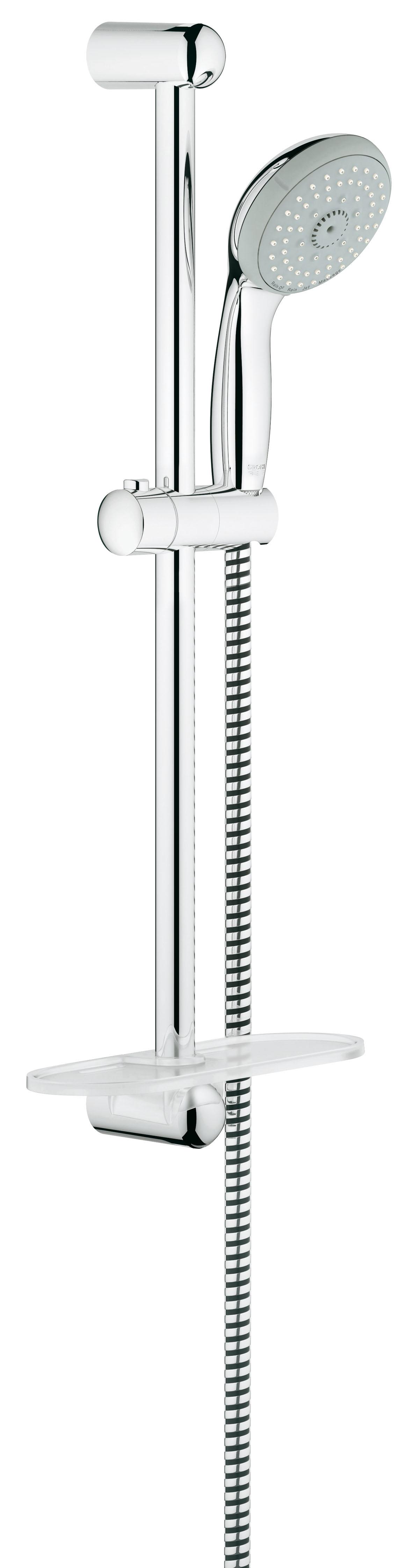 Душевой комплект с полочкой GROHE New Tempesta, штанга 600мм. (28593001)TKO 2403Включает в себя: Ручной душ (28 578 001) Душевая штанга, 600 мм (27 523 000) Душевой шланг Relexaflex 1750 мм 1/2? x 1/2? (28 154 000) Полочка GROHE EasyReach™(27 596 000) GROHE DreamSpray превосходный поток воды GROHE StarLight хромированная поверхностьС системой SpeedClean против известковых отложений Внутренний охлаждающий канал для продолжительного срока службы ShockProof силиконовое кольцо, предотвращающееПовреждение поверхности при падении ручного душа Может использоваться с проточным водонагревателемВидео по установке является исключительно информационным. Установка должна проводиться профессионалами!