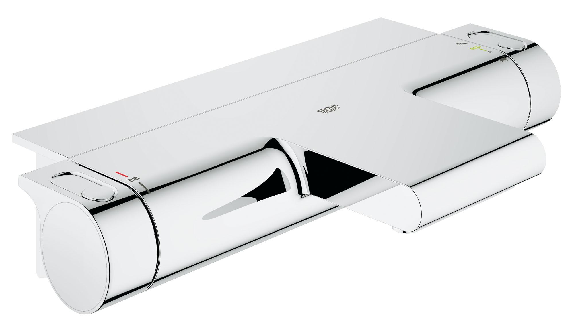 Термостат для ванны GROHE Grohtherm 2000 New с полочкой. (34464001)BL505Этот изящный смеситель для ванны позволит вам быстро наполнить ванну с помощью невероятно бесшумного потока воды желаемой температуры, который погрузит вас в умиротворяющую атмосферу в стиле спа. Мощный термостат комплектуется изящной полочкой EasyReach для хранения банных принадлежностей под рукой, а технология GROHE CoolTouch делает его безопасным для прикосновений, не позволяя внешней поверхности нагреваться. Переключатель GROHE AquaDimmer позволяет с легкостью перенаправлять поток воды между каскадным изливом для ванны и душем. Ограничитель SafeStop предохраняет пользователей — особенно детей — от случайного включения слишком горячей воды во время купания. Благодаря нецарапающемуся и легко очищаемому хромированному покрытию это изысканное устройство сохранит свой ослепительный внешний вид на многие годы. Встроенный механизм водосбережения позволит вам сократить расход воды через душ практически вдвое, помогая спокойно наслаждаться купанием с сознанием того, что вы экономите ценные природные ресурсы.Особенностинастенный монтаж GROHE CoolTouch безопасный корпус GROHE StarLight хромированная поверхность GROHE TurboStat встроенный термоэлемент GROHE EcoJoy Технология совершенного потока при уменьшенном расходе водывстроенный стопор смешанной воды Carbodur керамический вентиль 1/2?, 180° GROHE AquaDimmer Plus многофункциональный: регулировка расхода, переключатель ванна/душ, встроеная кнопка с функцией экономии воды для душа стопор безопасности при 38°C отвод для душа снизу 1/2? аэратор встроенные обратные клапаны грязеулавливающие фильтры скрытые S-образные эксцентрики с защитой от обратного потока GROHE EasyReach™ полочка съемная GROHE XL WaterfallВидео по установке является исключительно информационным. Установка должна проводиться профессионалами!