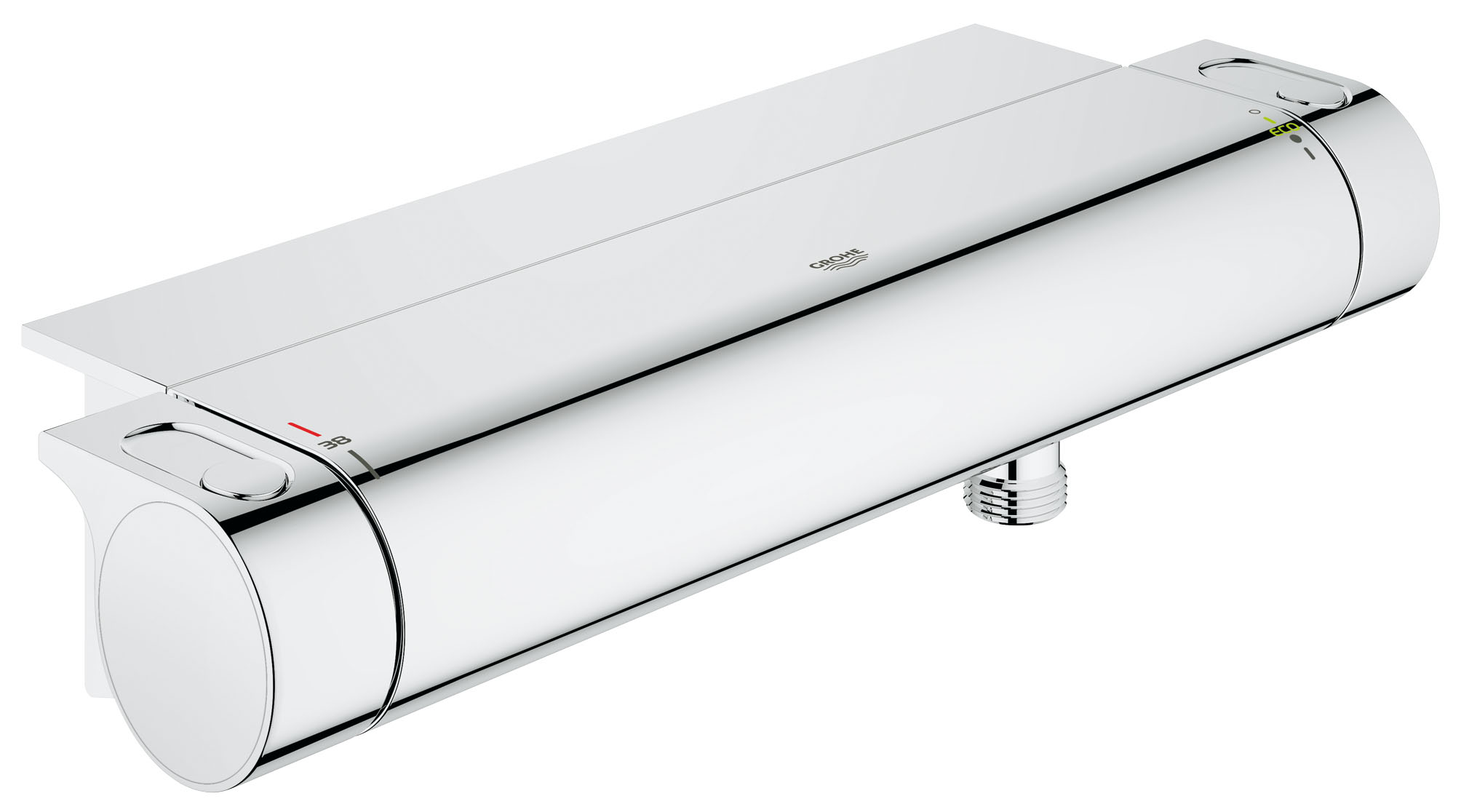 Термостат для душа GROHE Grohtherm 2000 с полочкой. (34469001)BL505Главные преимущества этого смесителя для душа — безопасность, которую обеспечивает термостатическое управление температурой воды, и высокий уровень эстетичности. Его регуляторы разработаны с расчетом на интуитивное управление легчайшим усилием. В конструкции применяется технология GROHE CoolTouch, которая предотвращает внешний нагрев корпуса и таким образом защищает от ожогов. Ограничитель SafeStop предохраняет пользователей от случайного включения слишком горячей воды. Смеситель комплектуется простой в уходе полочкой GROHE EasyReach, которая служит эффектным аксессуаром и обеспечивает место для хранения банных принадлежностей. Кроме того, данный термостат позволяет экономить до 50% воды в режиме водосбережения без ущерба для комфорта: это поможет вам полноценно наслаждаться купанием.Особенностинастенный монтаж GROHE CoolTouch безопасный корпус GROHE StarLight хромированная поверхность GROHE TurboStat встроенный термоэлемент GROHE EcoJoy Технология совершенного потока при уменьшенном расходе водывстроенный стопор смешанной воды Carbodur керамический вентиль 1/2?, 180° рукоятка расхода с экономичной кнопкой GROHE EcoButton и индивидуально устанавливаемым стопором рукоятка выбора температуры со стопором при 38°C отвод для душа снизу 1/2? встроенные обратные клапаны грязеулавливающие фильтры скрытые S-образные эксцентрики с защитой от обратного потока GROHE EasyReach™ полочка съемнаяВидео по установке является исключительно информационным. Установка должна проводиться профессионалами!