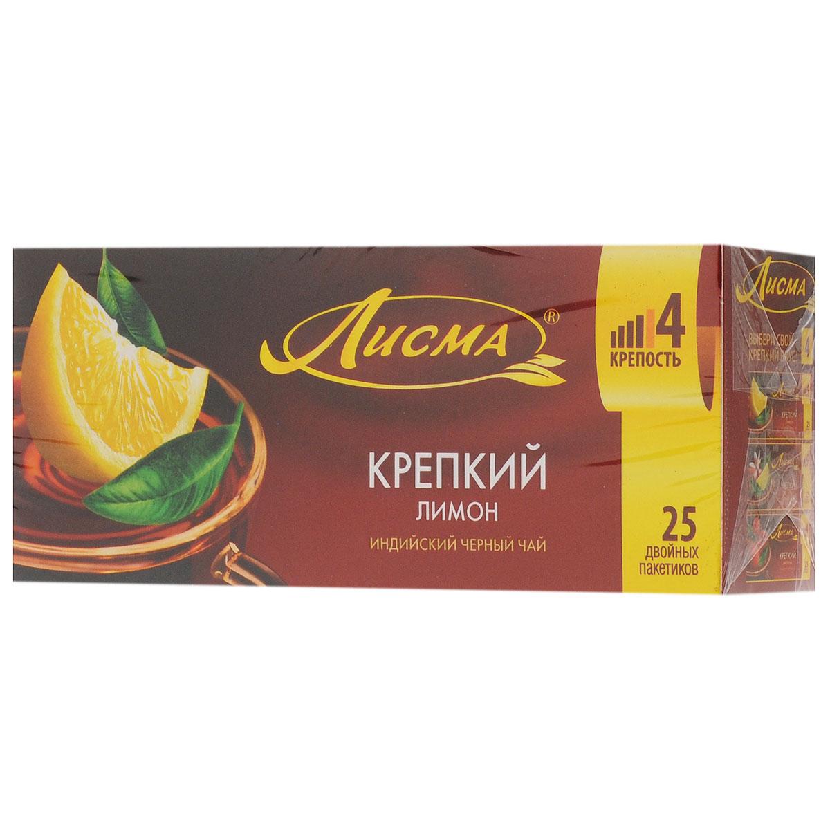 Лисма Крепкий Лимон черный чай в пакетиках, 25 шт