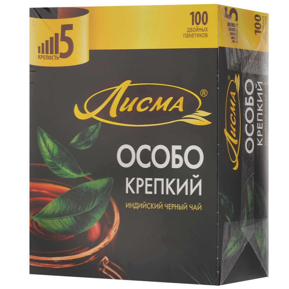 Лисма Особо Крепкий черный чай в пакетиках, 100 шт0120710Лисма Особо Крепкий - индийский черный байховый чай в пакетиках. В коробке содержится 100 пакетиков по 2,3 грамма.