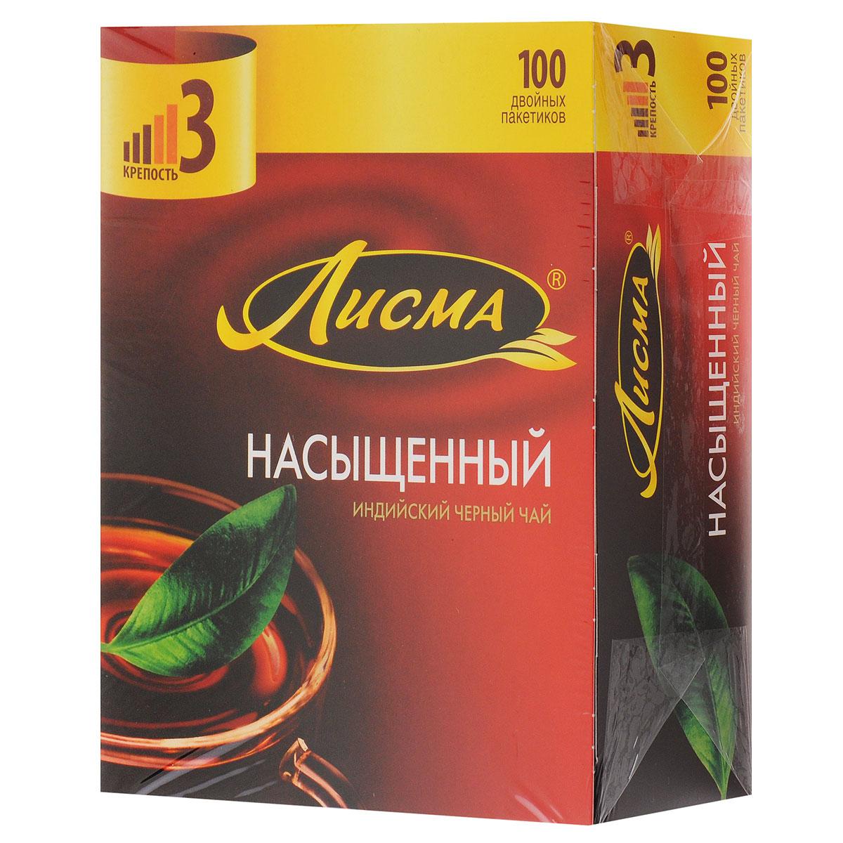 Лисма Насыщенный черный чай в пакетиках, 100 шт0120710Лисма Насыщенный- индийский черный байховый чай в пакетиках. В коробке содержится 100 пакетиков по 1,8 грамма.