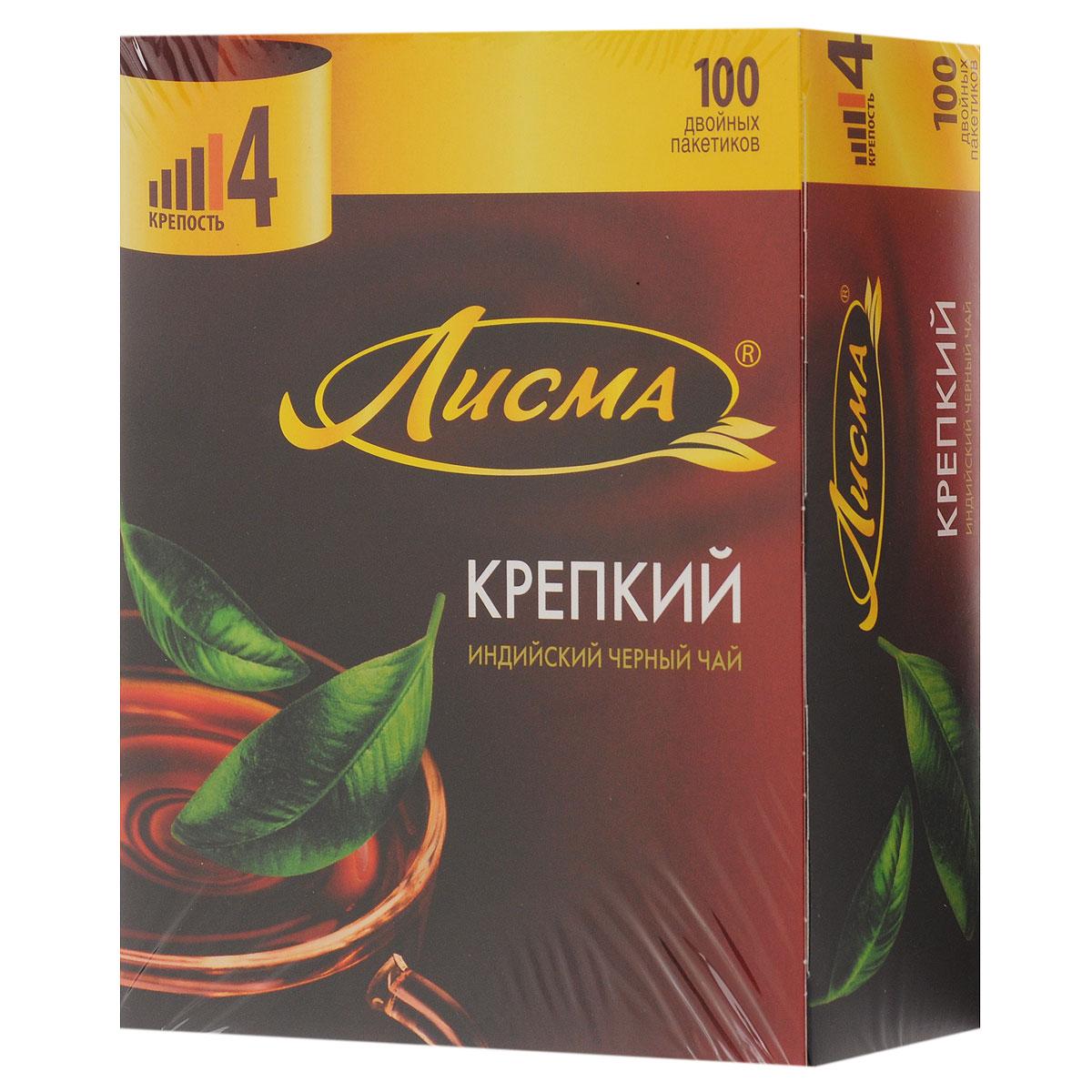 Лисма Крепкий черный чай в пакетиках, 100 шт0120710Лисма Крепкий - индийский черный байховый чай в пакетиках. Коробка содержит 100 пакетиков по 2 грамма.