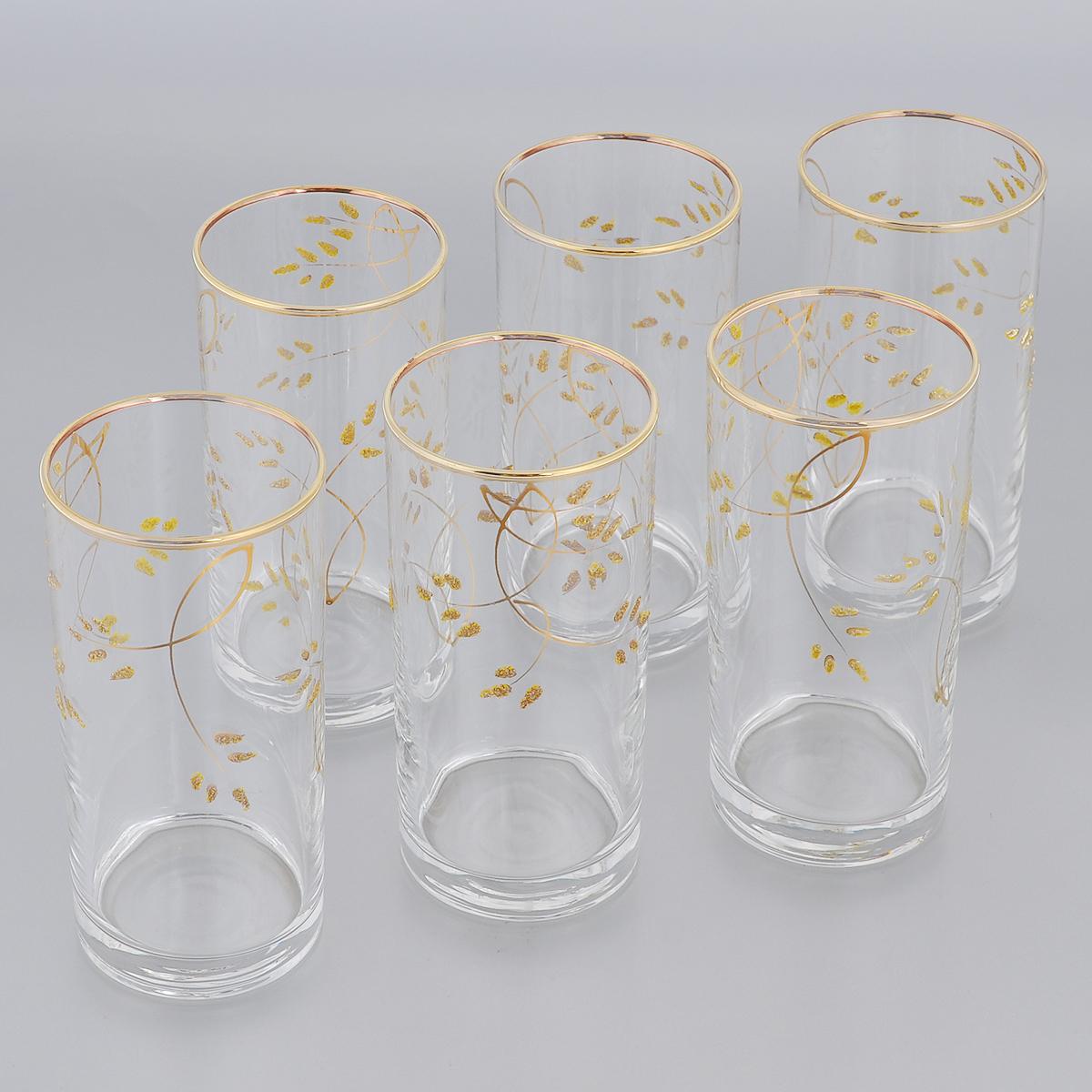 Набор стаканов для коктейлей Гусь-Хрустальный Колосок, 290 мл, 6 штVT-1520(SR)Набор Гусь-Хрустальный Колосок состоит из 6 стаканов для коктейлей, изготовленных из высококачественного натрий-кальций-силикатного стекла. Изделия оформлены красивым зеркальным покрытием и золотистым глянцевым орнаментом. Такой набор прекрасно дополнит праздничный стол и станет желанным подарком в любом доме. Разрешается мыть в посудомоечной машине. Диаметр стакана (по верхнему краю): 6 см. Высота стакана: 12,5 см.